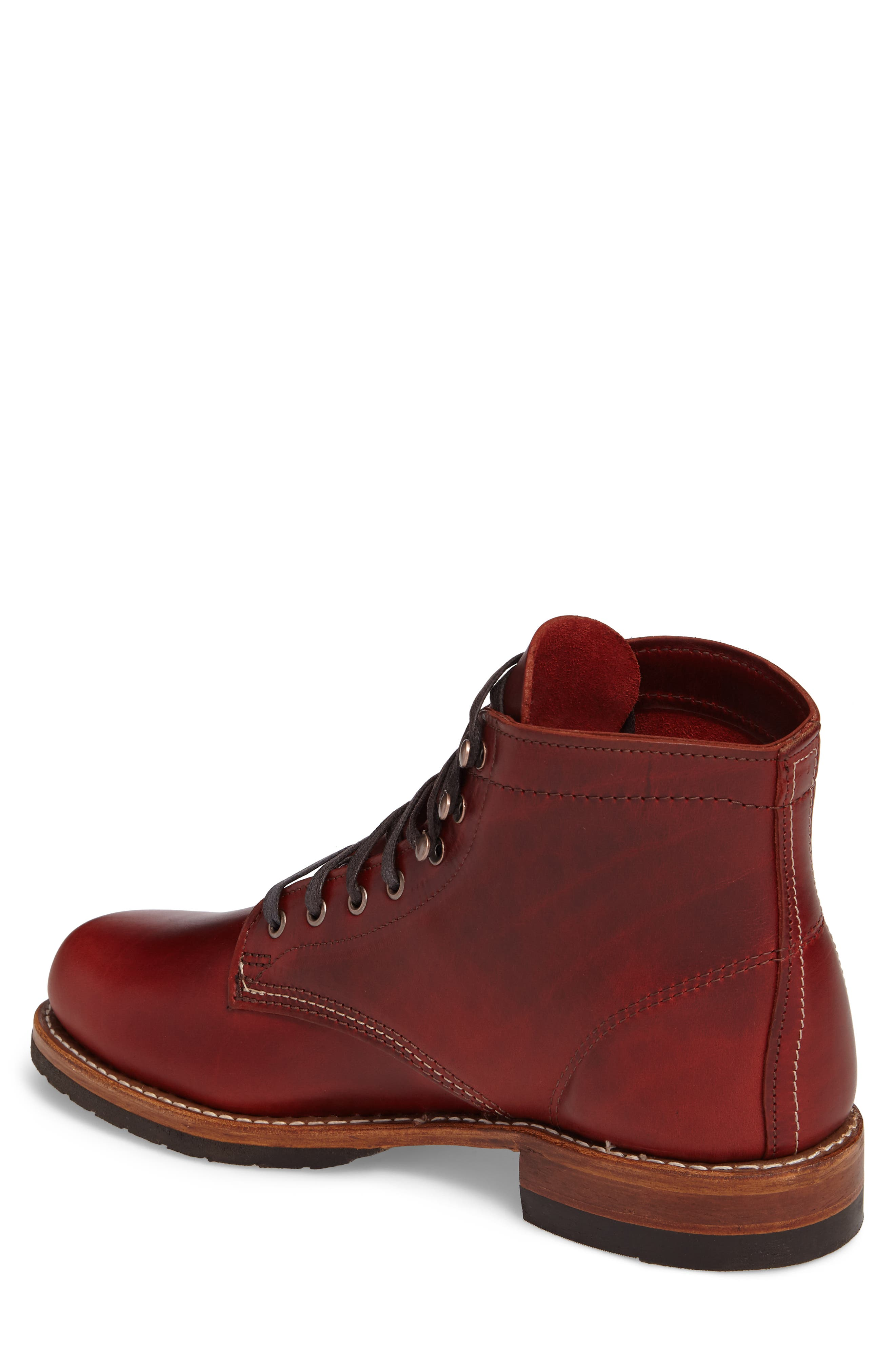 Evans Plain Toe Boot,                             Alternate thumbnail 2, color,                             Red Leather