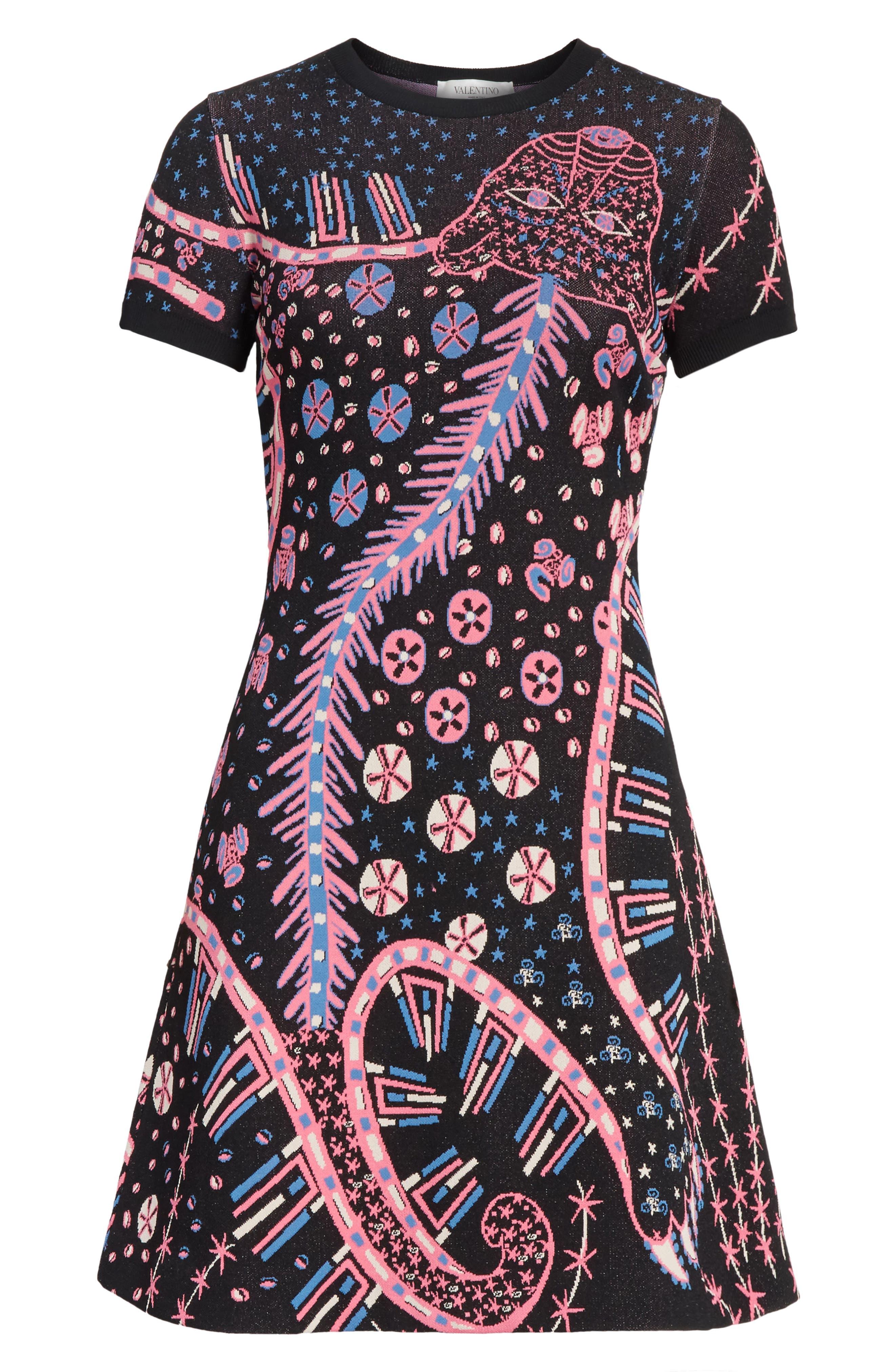 Leopard Stretch Knit Dress,                             Alternate thumbnail 7, color,                             Black Multi