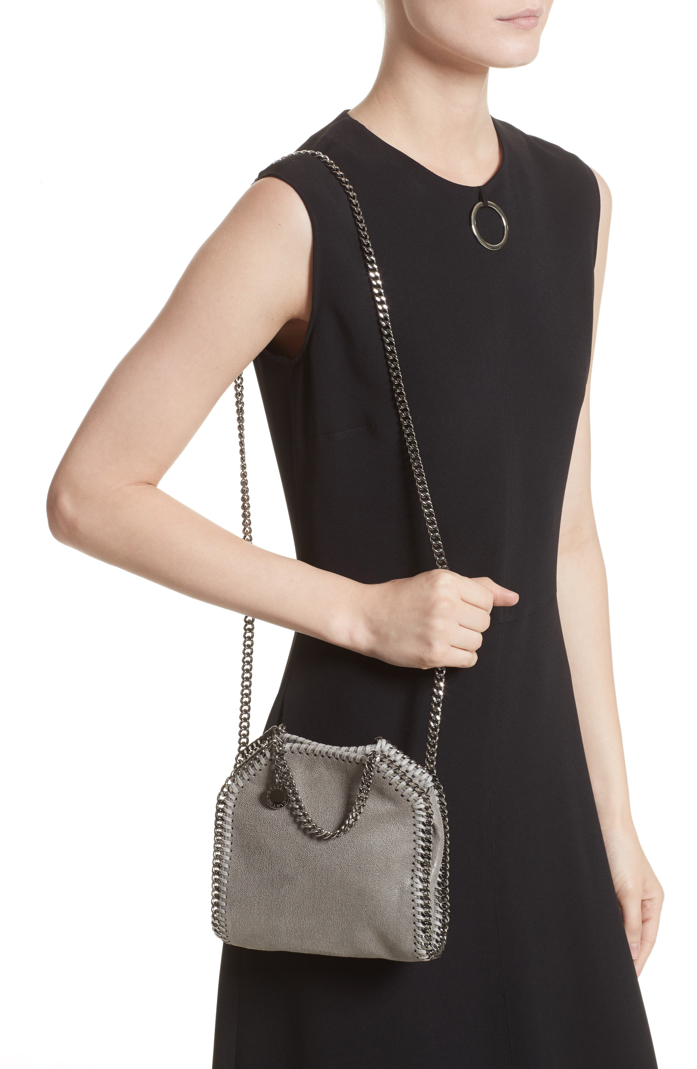 'Tiny Falabella' Faux Leather Crossbody Bag,                             Alternate thumbnail 2, color,                             Light Grey