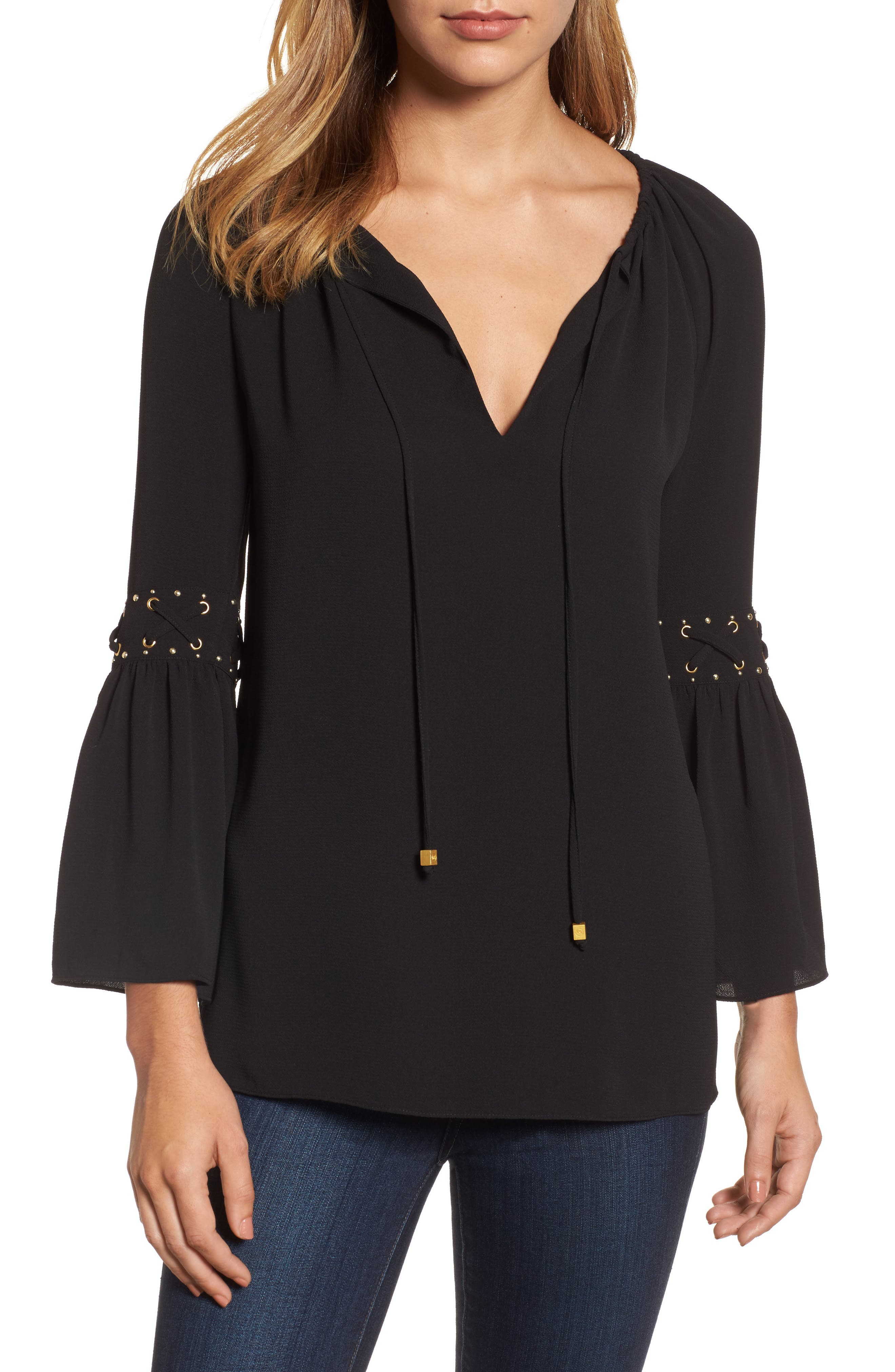 Lace-Up Sleeve Top,                         Main,                         color, Black