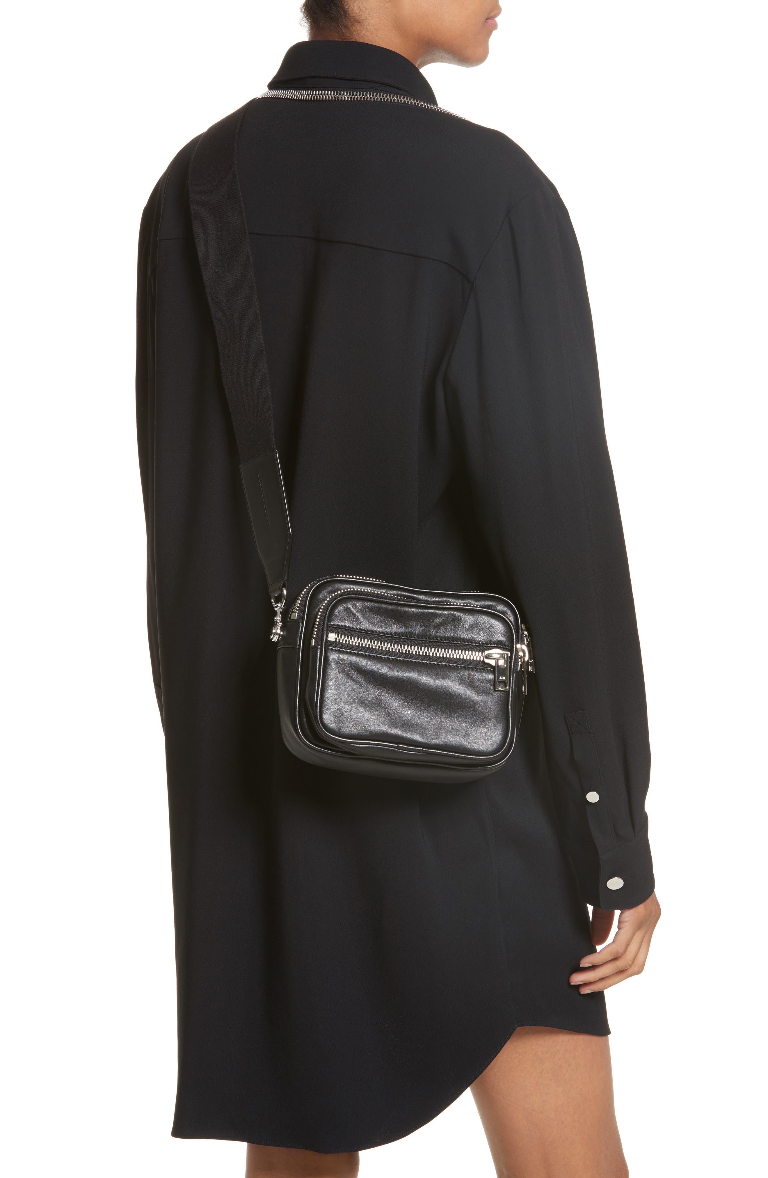 Large Attica Leather Crossbody Bag,                             Alternate thumbnail 2, color,                             Black