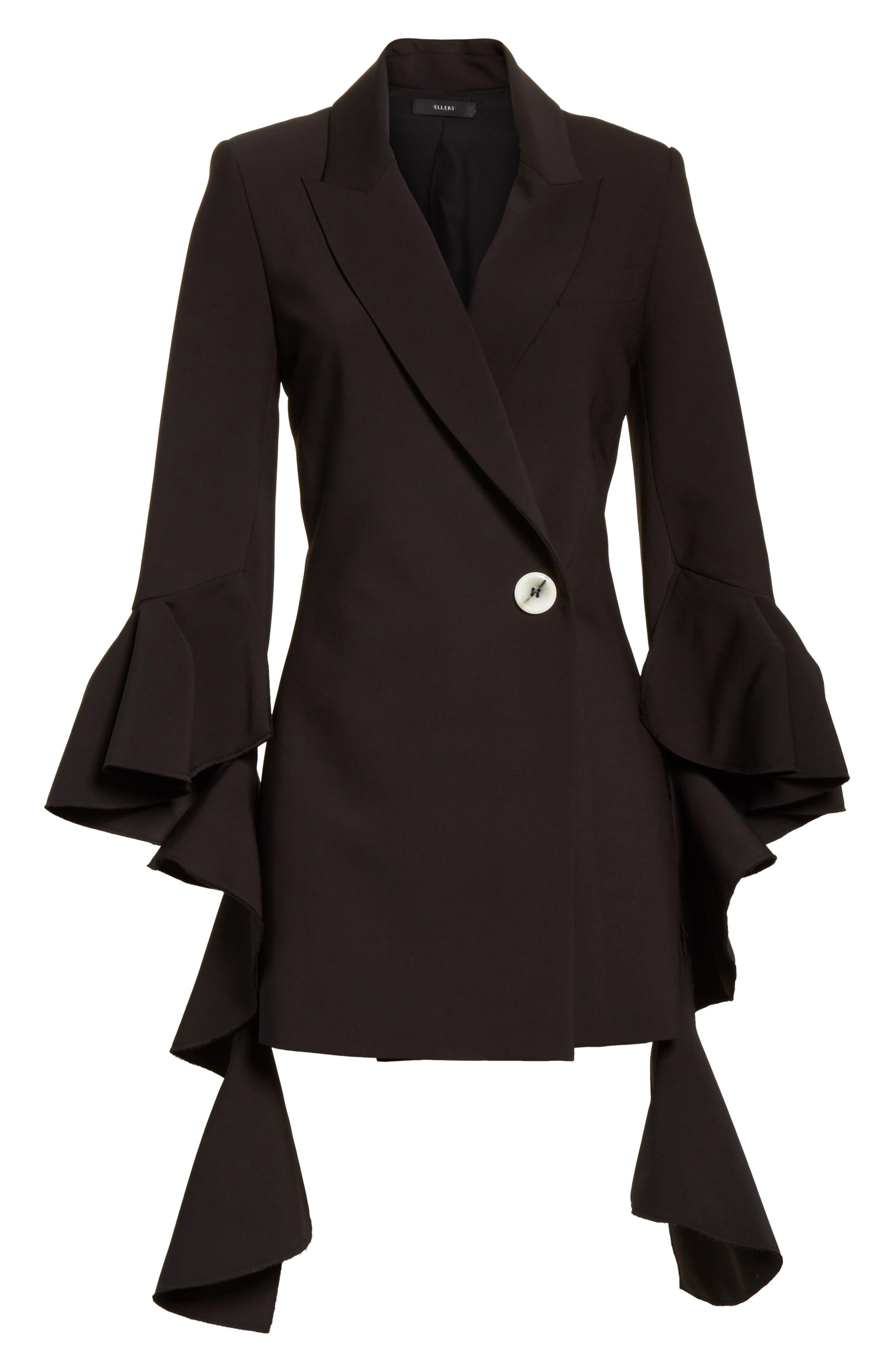 Forsaken Frill Sleeve Jacket,                             Alternate thumbnail 7, color,                             Black