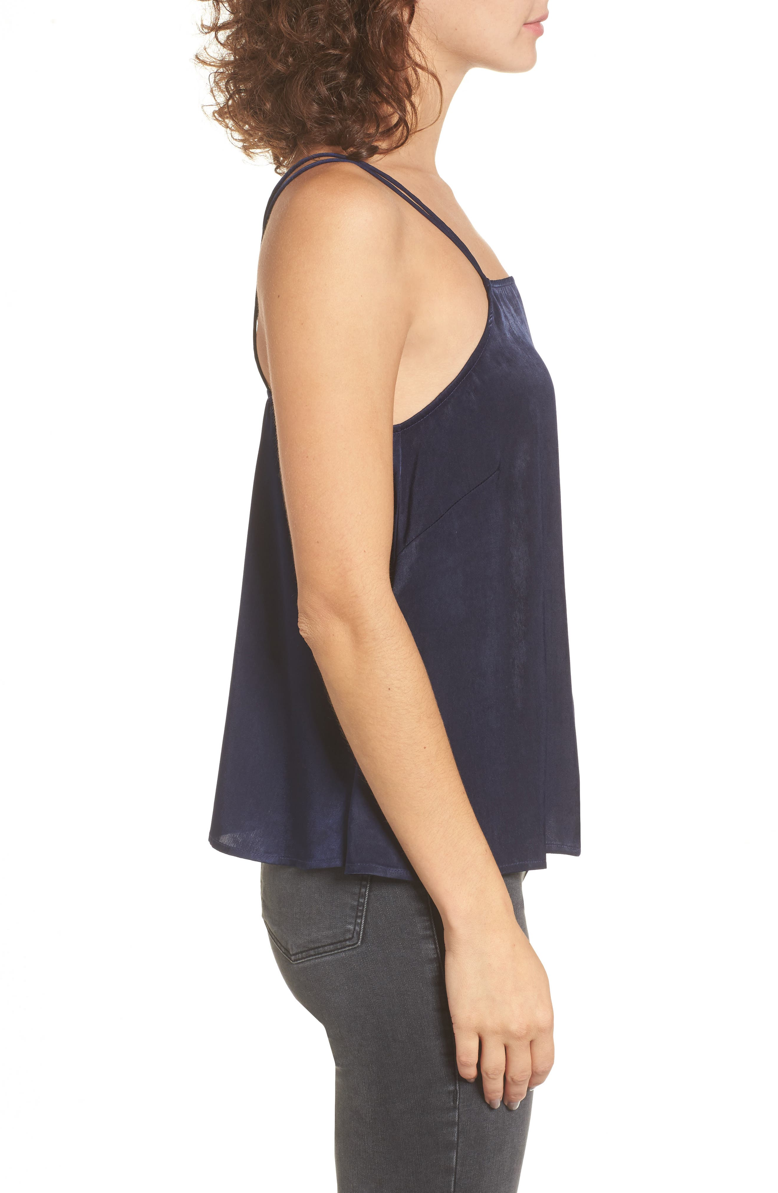 Satin Camisole,                             Alternate thumbnail 3, color,                             Navy Evening
