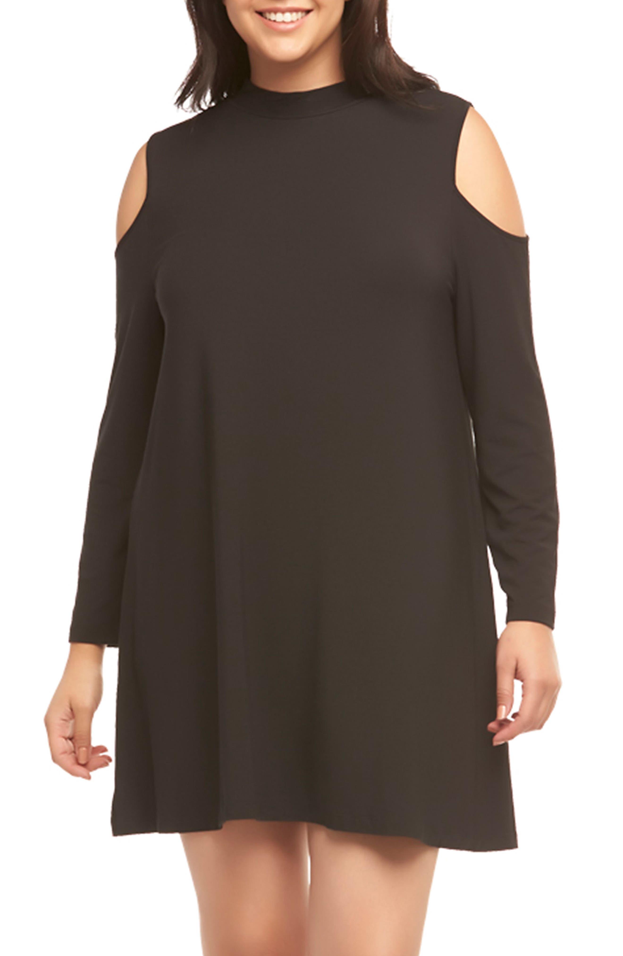 Kailey Cold Shoulder Trapeze Dress,                         Main,                         color, Black