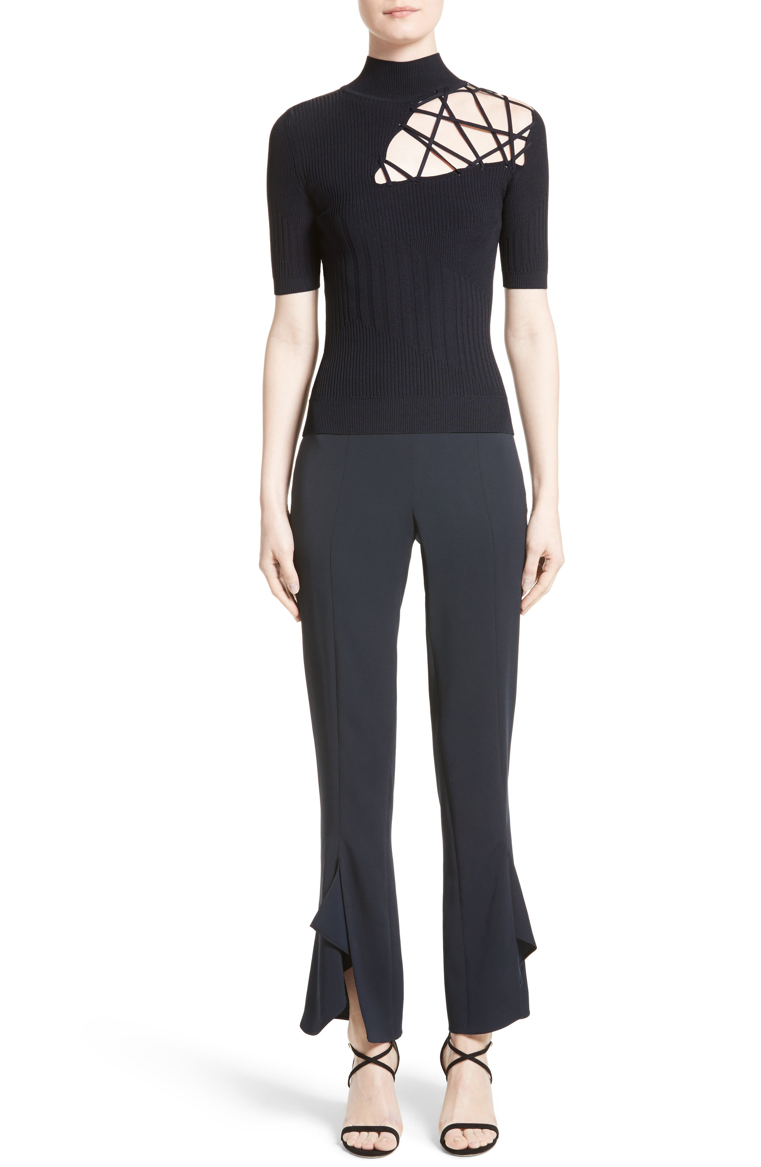 Strappy Cutout Mock Neck Top,                             Alternate thumbnail 6, color,                             Midnight