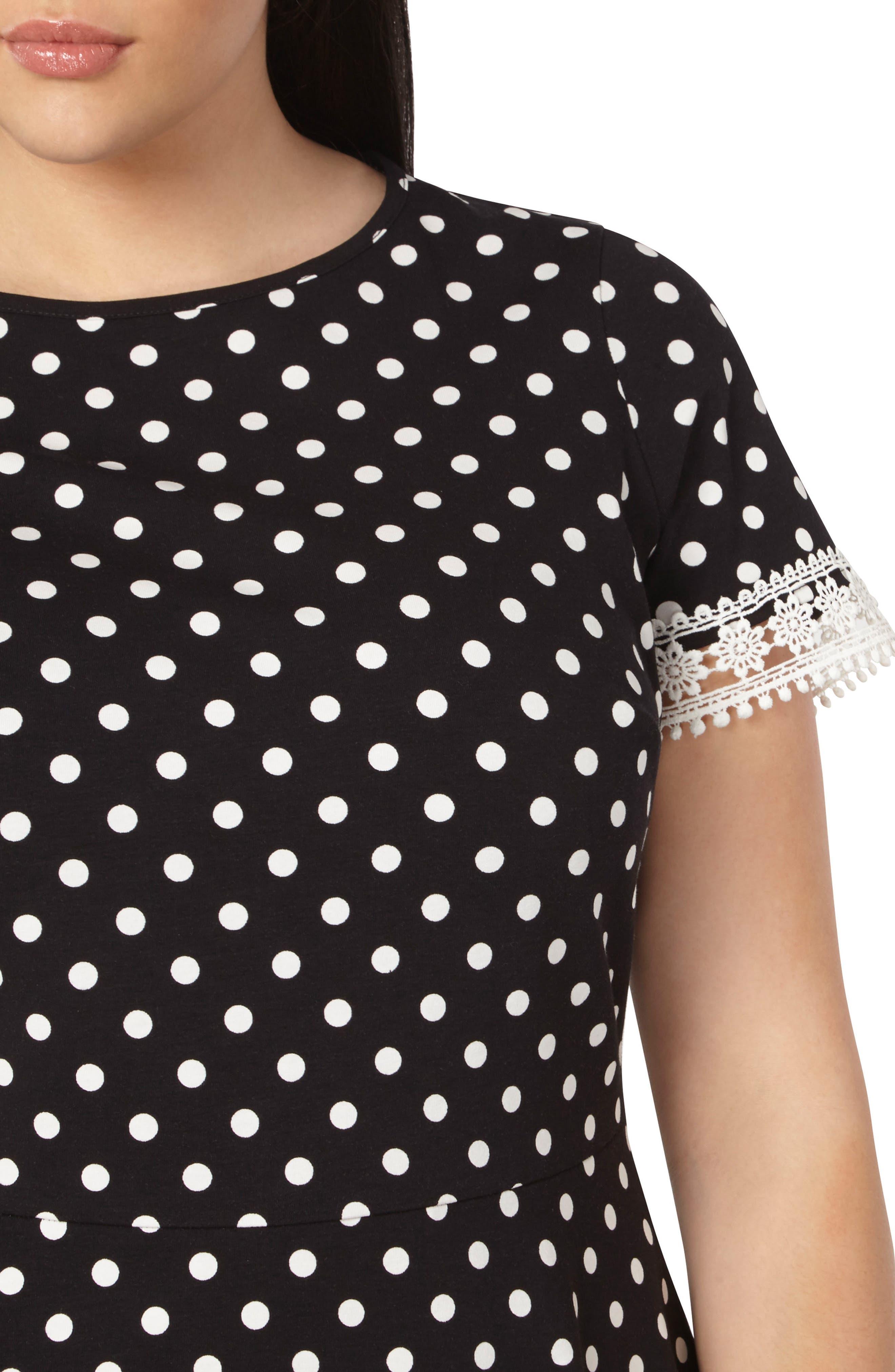 Alternate Image 4  - Dorothy Perkins Polka Dot Fit & Flare Dress (Plus Size)