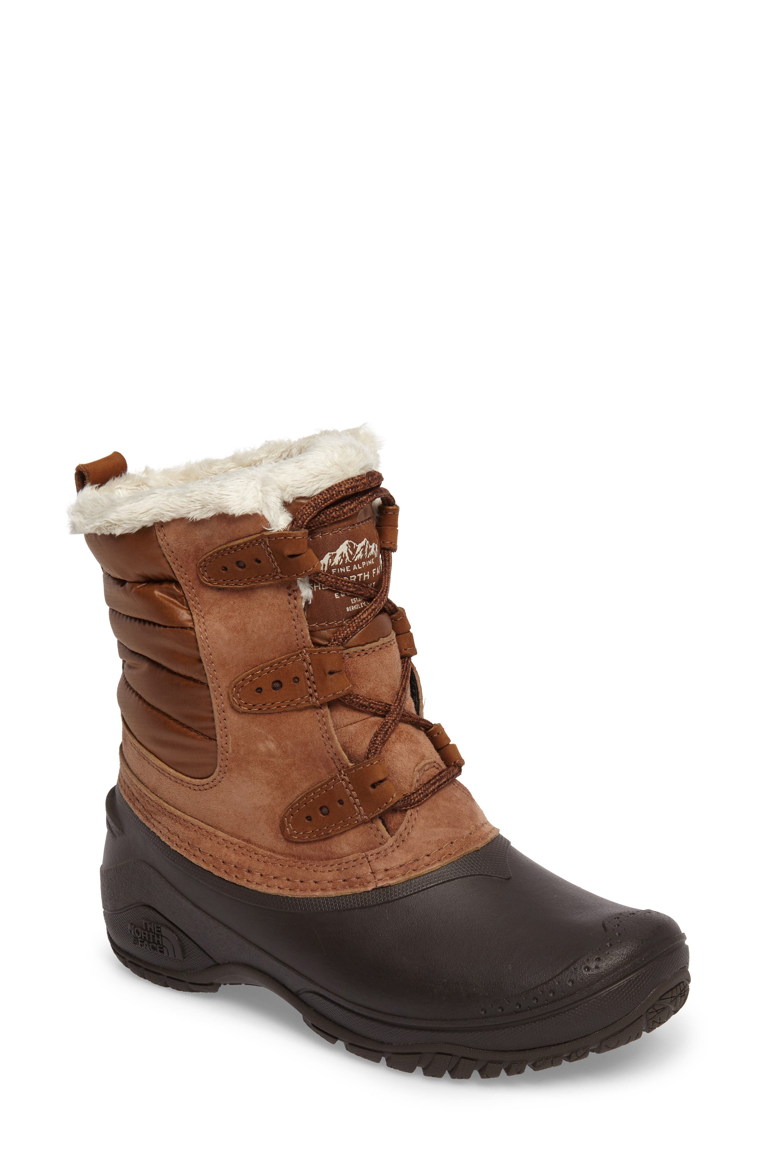Shellista II Waterproof Boot,                             Main thumbnail 1, color,                             Dachshund Brown/ Vintage White
