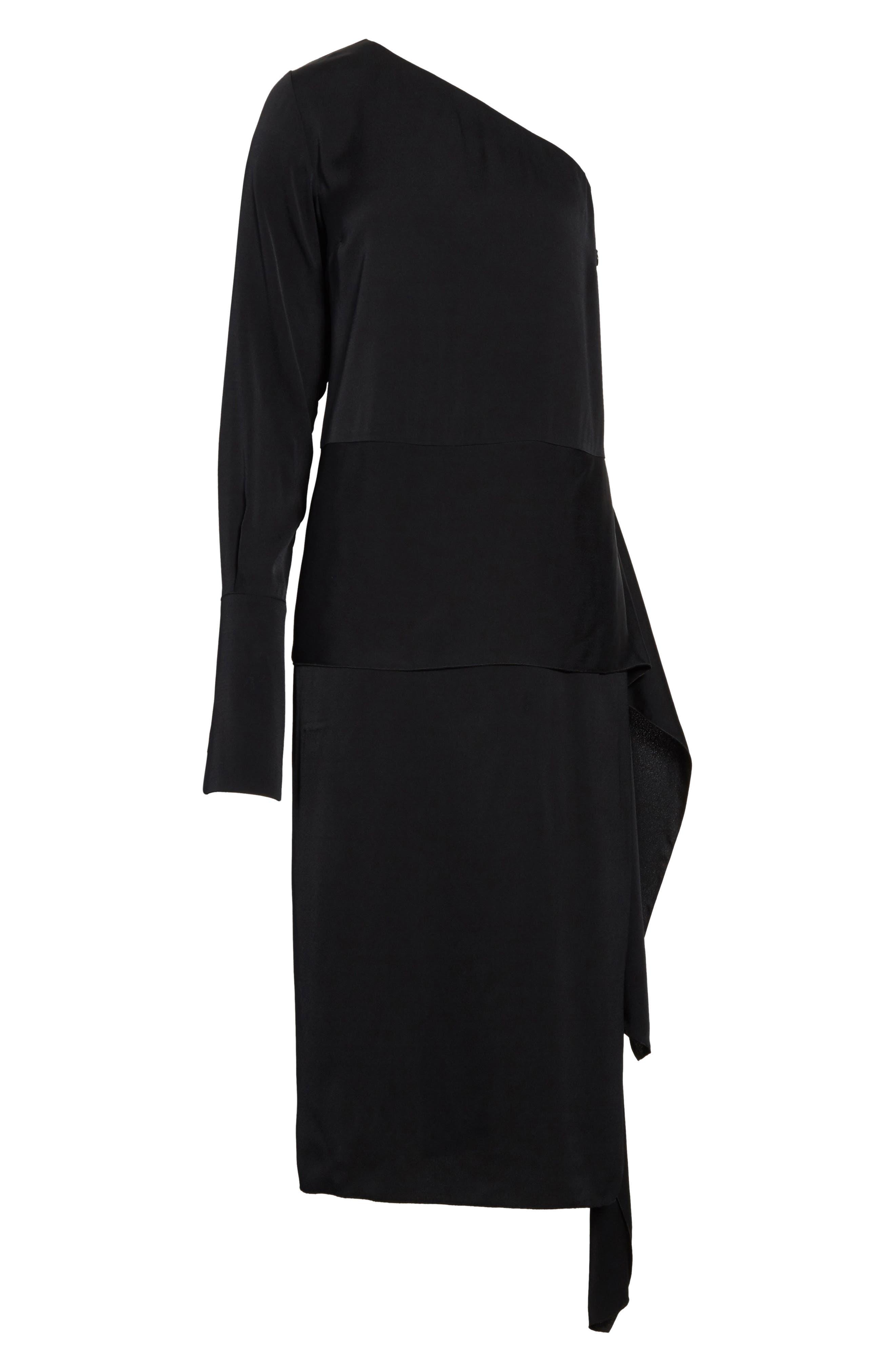 One-Shoulder Draped Cady Dress,                             Alternate thumbnail 7, color,                             Black