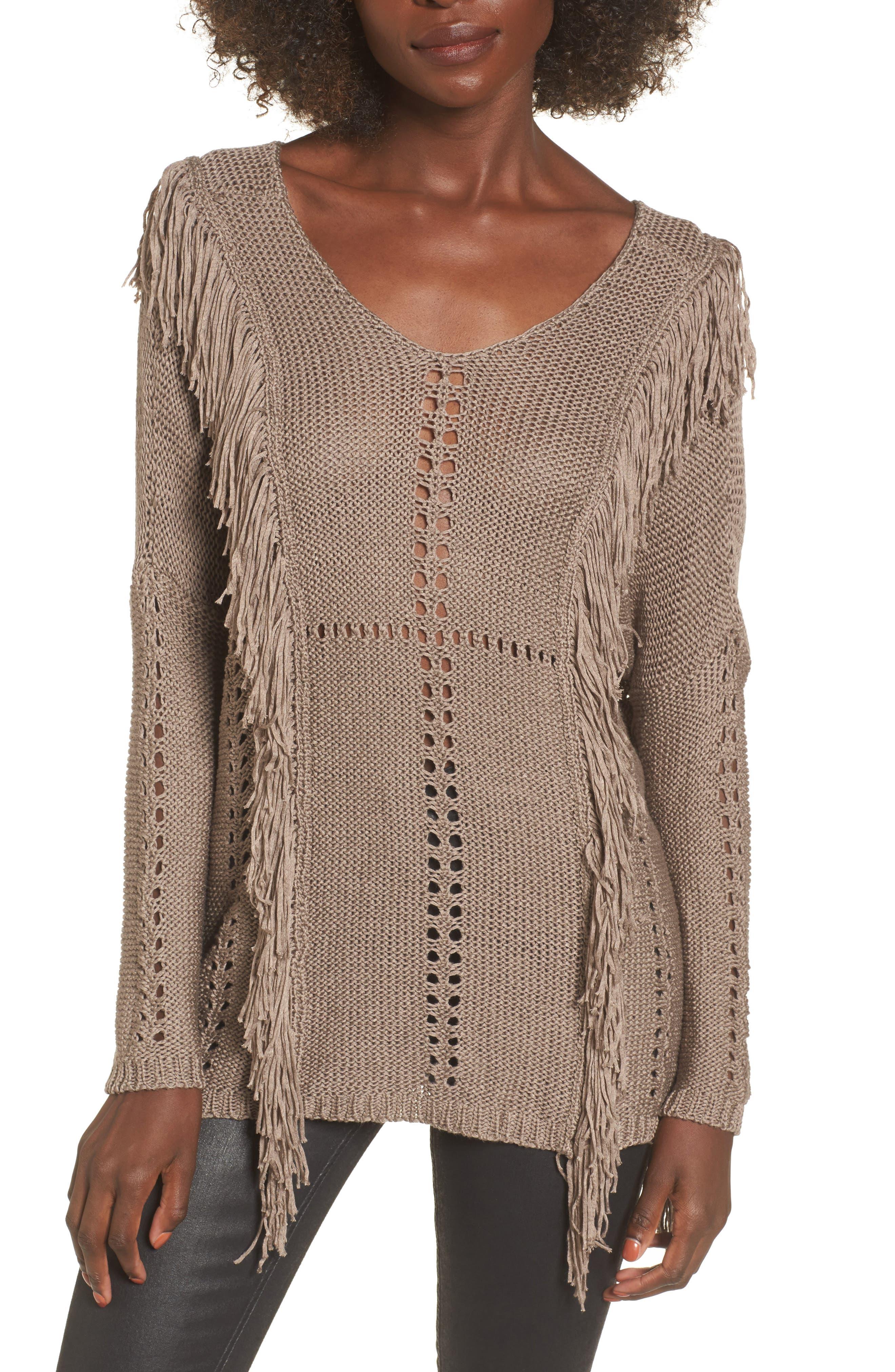 Enya Fringe Sweater,                             Main thumbnail 1, color,                             Mocha