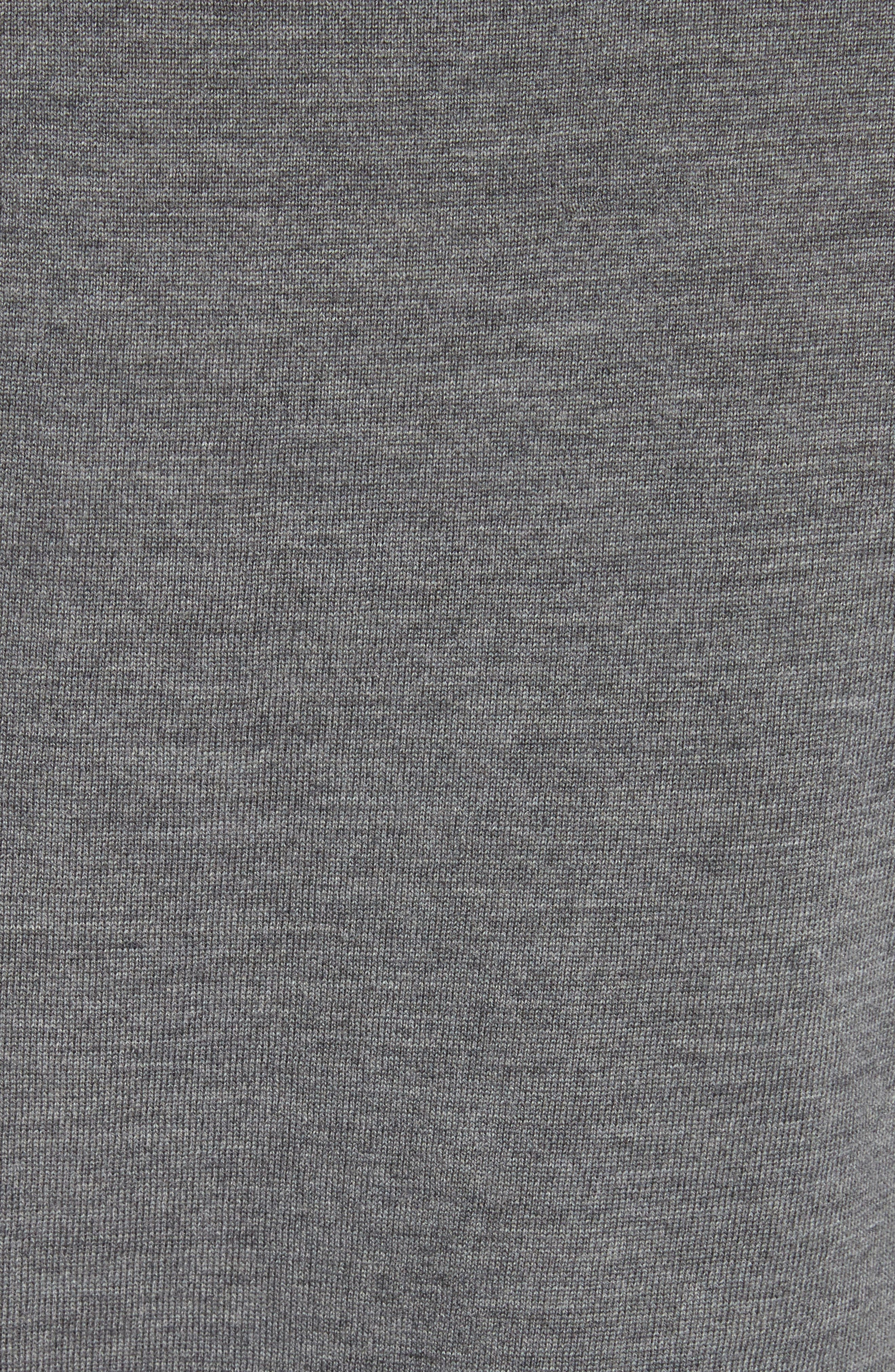 Ruffle Merino Wool Sweater,                             Alternate thumbnail 5, color,                             Dark Grey Melange
