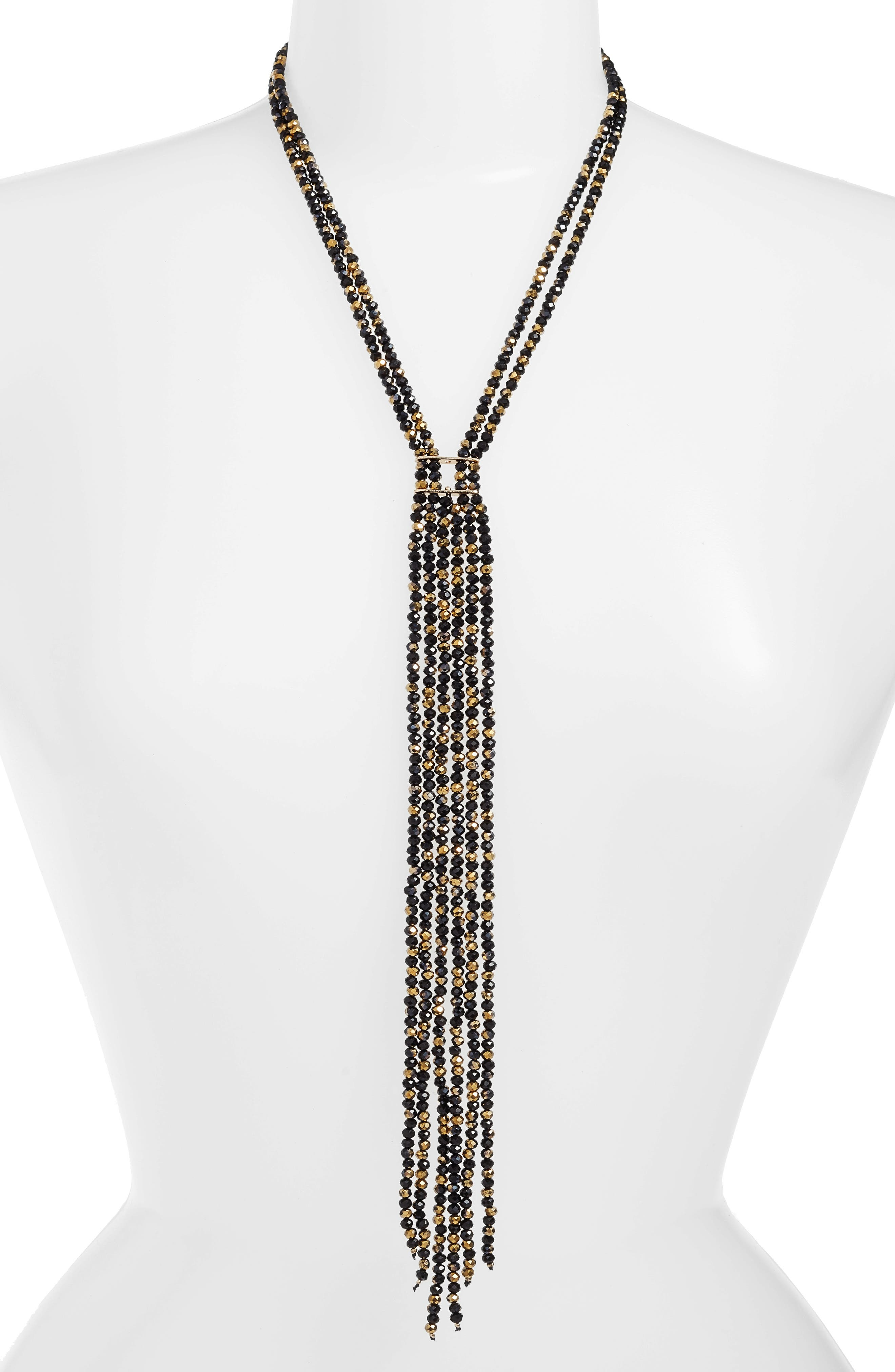 CRISTABELLE Crystal Bead Fringe Necklace