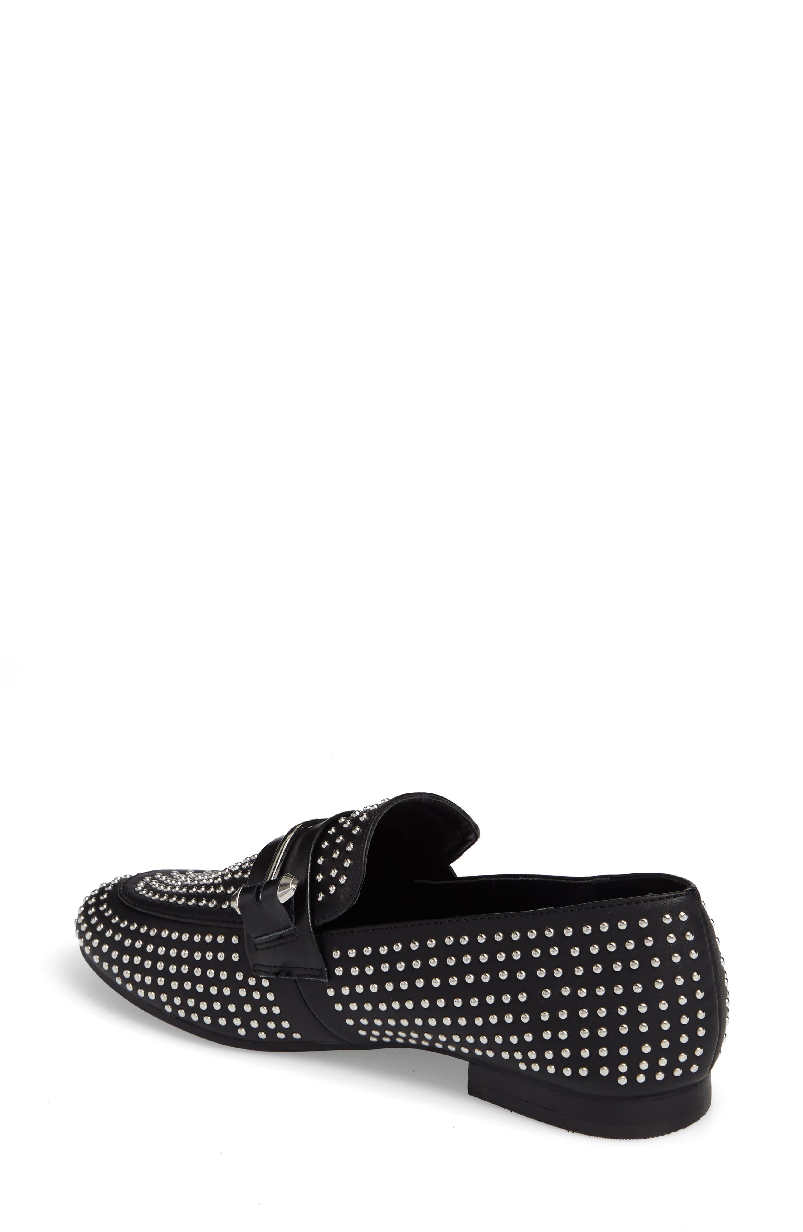 Kast Studded Loafer,                             Alternate thumbnail 2, color,                             Black Faux Leather