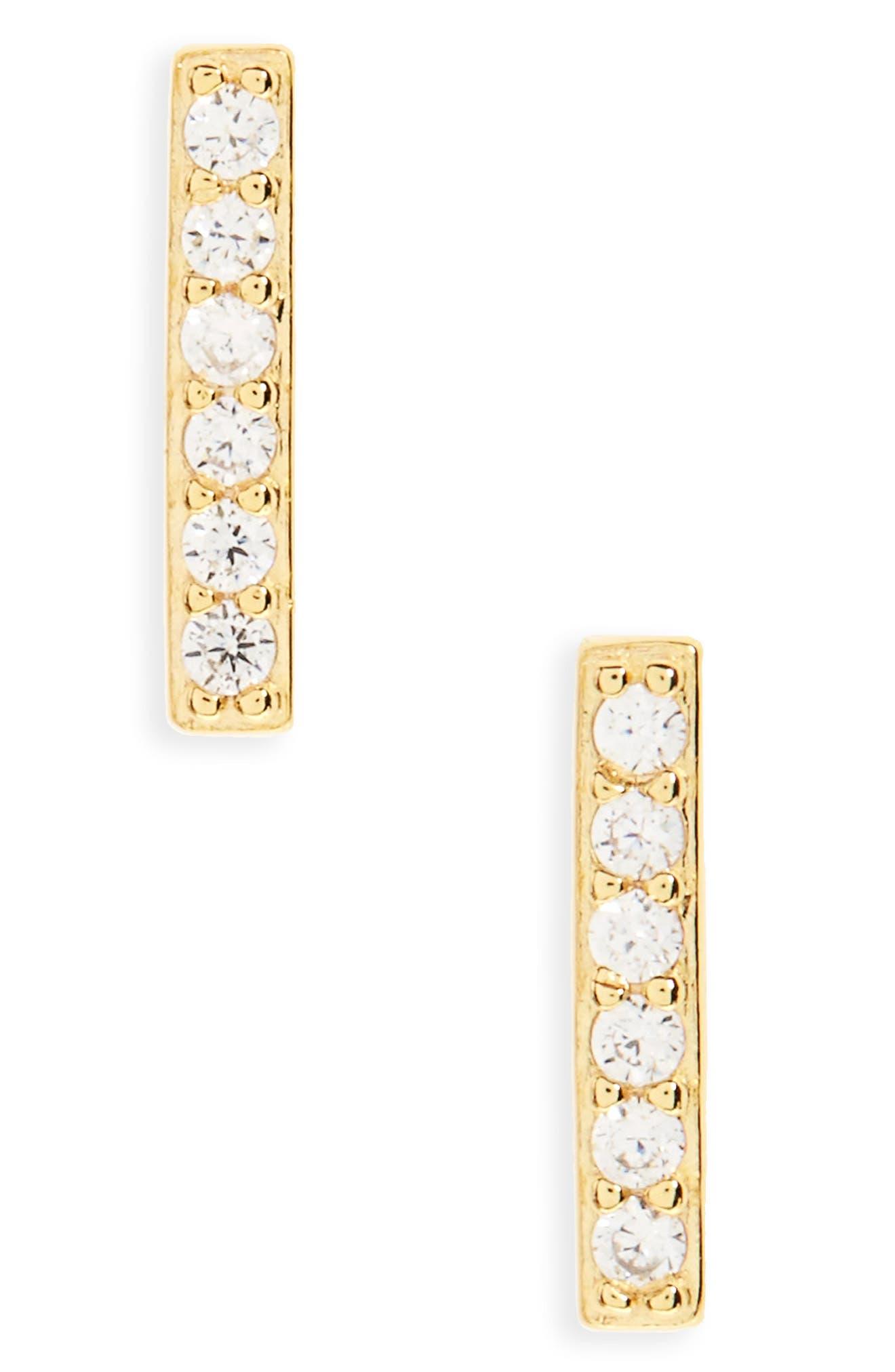 Precious Metal Plated Cubic Zirconia Bar Earrings,                         Main,                         color, Gold