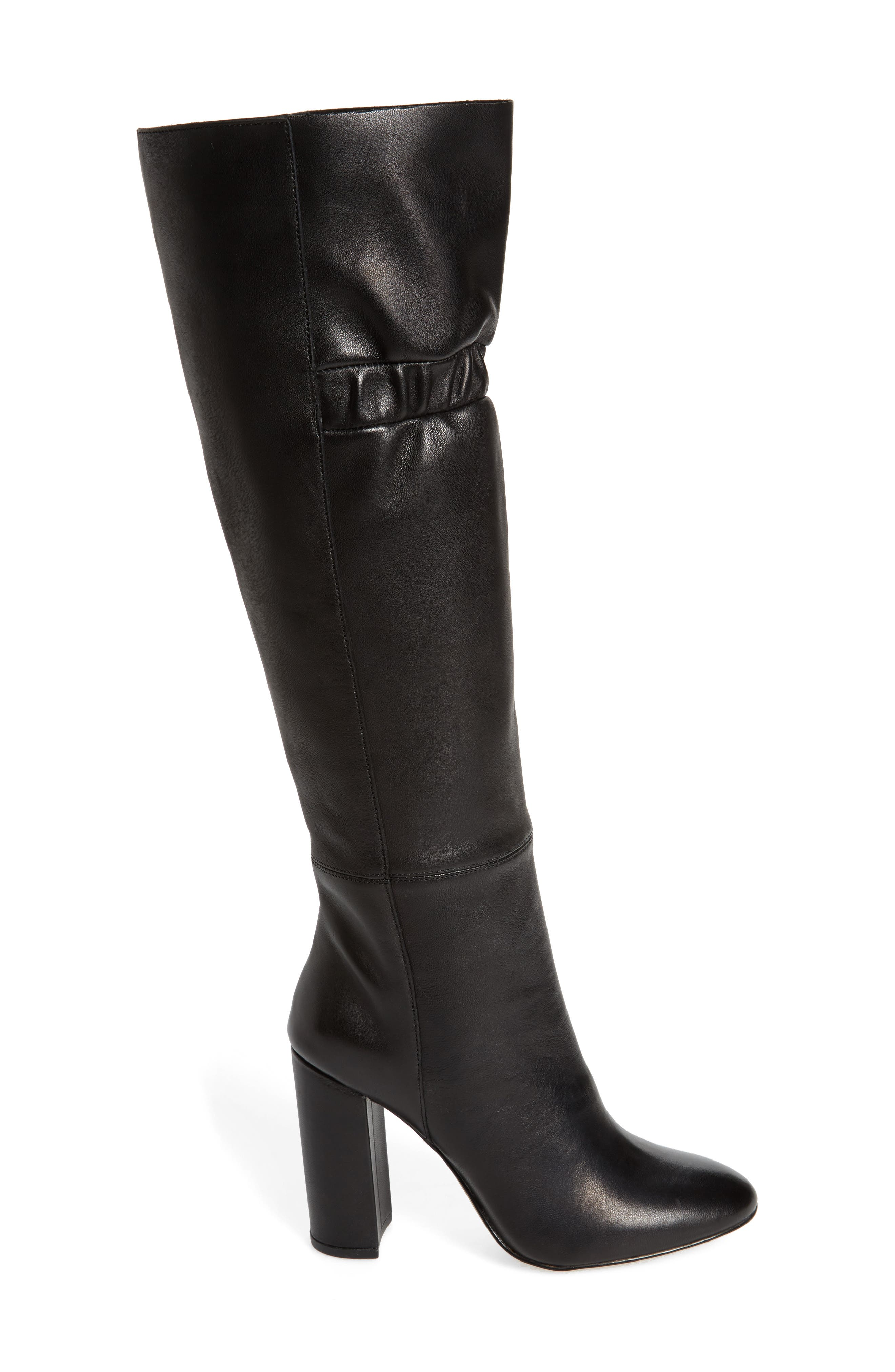 Ruby Knee High Boot,                             Alternate thumbnail 3, color,                             Black Leather