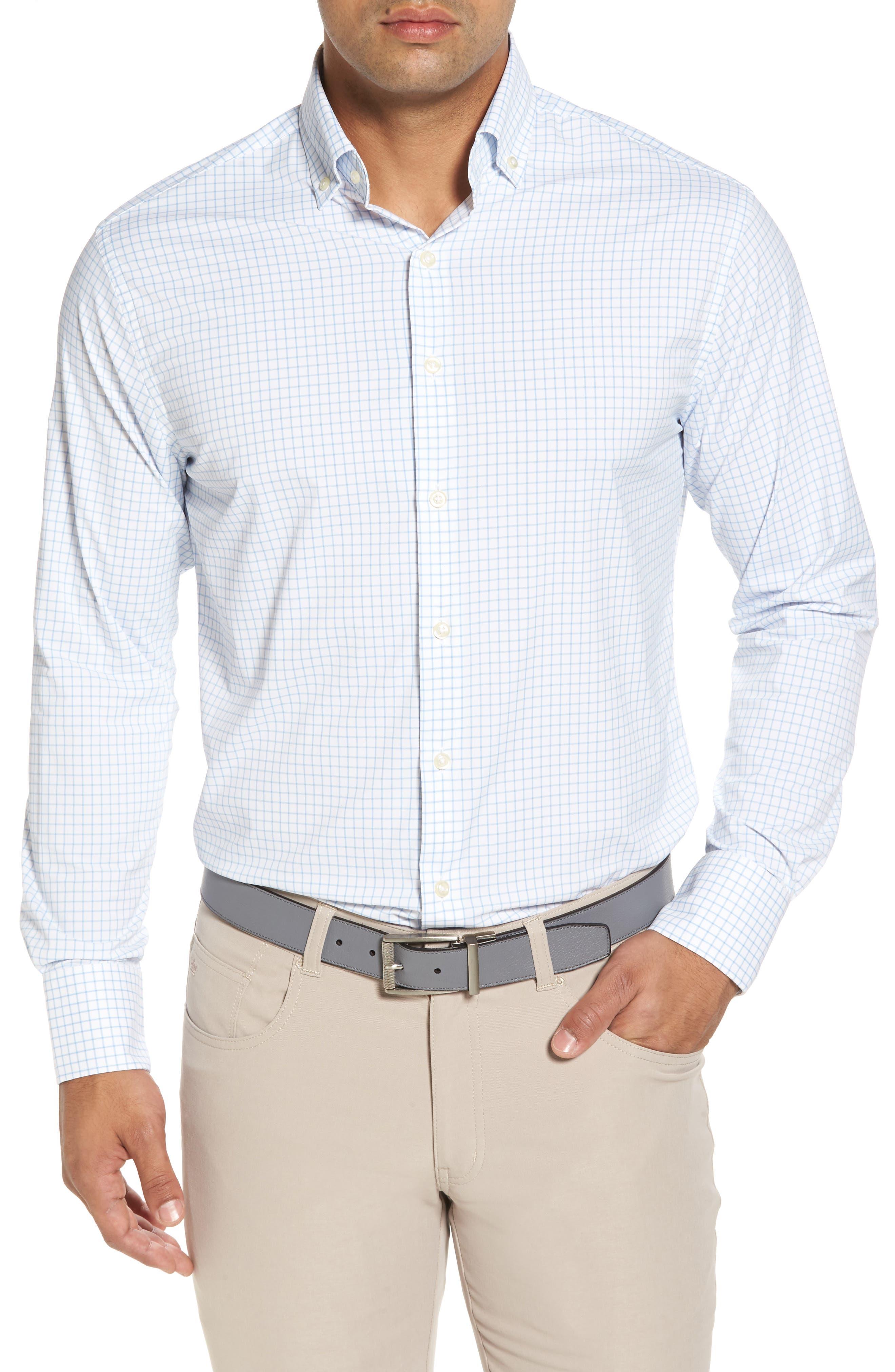 Captain Check Performance Sport Shirt,                         Main,                         color, Cottage Blue