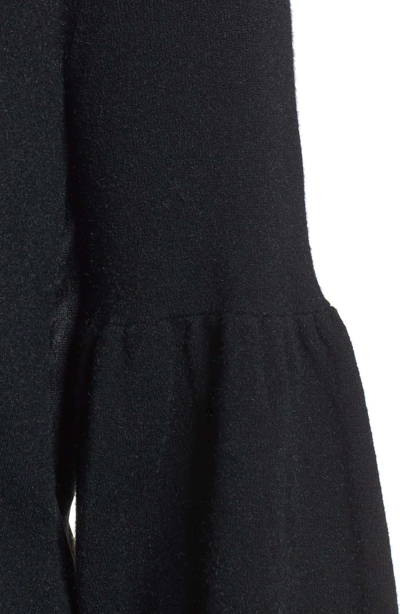 Velvet Back Sweater,                             Alternate thumbnail 4, color,                             Black