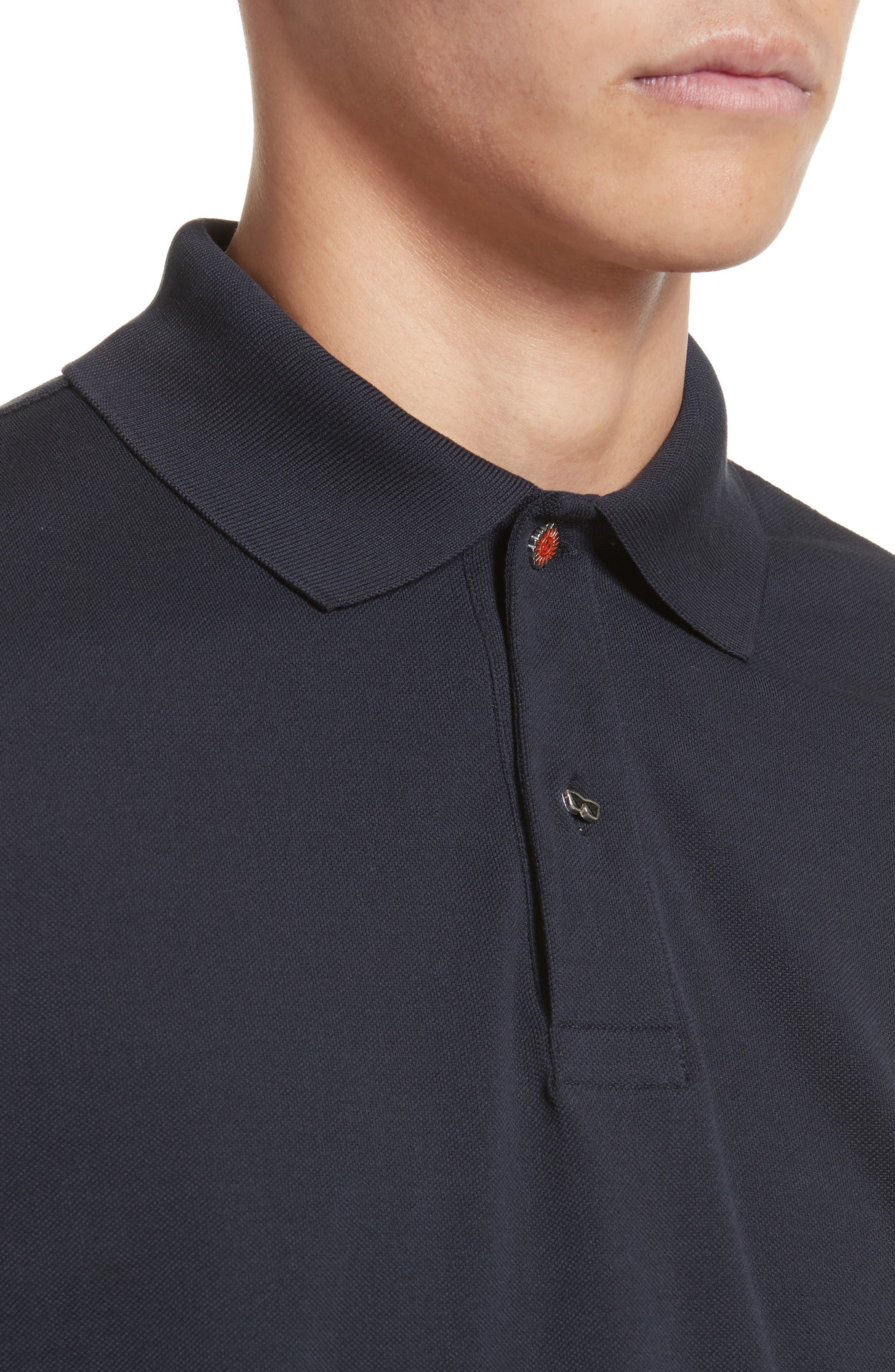 Piqué Polo with Character Buttons,                             Alternate thumbnail 4, color,                             Navy