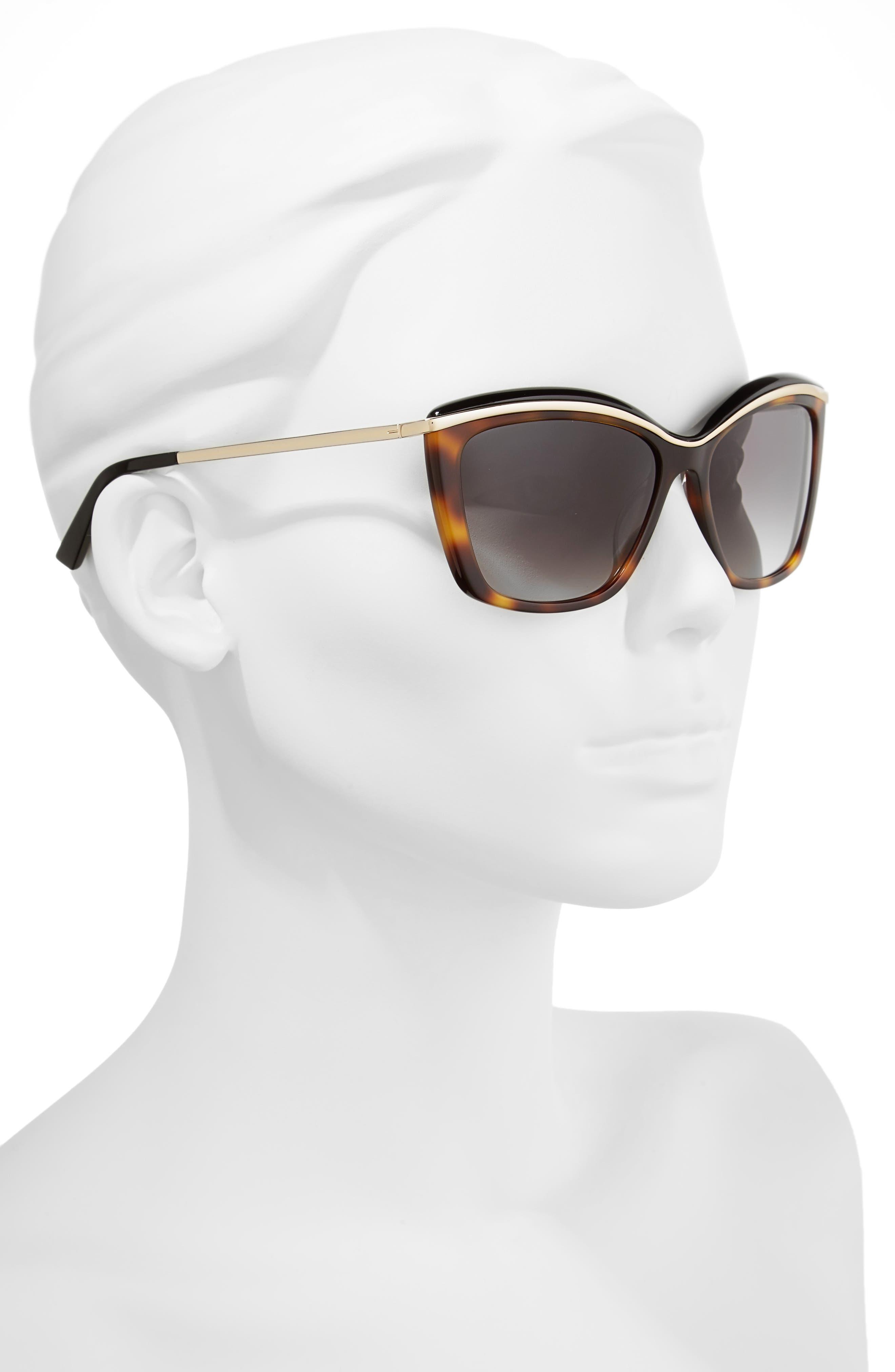 55mm Cat Eye Sunglasses,                             Alternate thumbnail 2, color,                             Tortoise