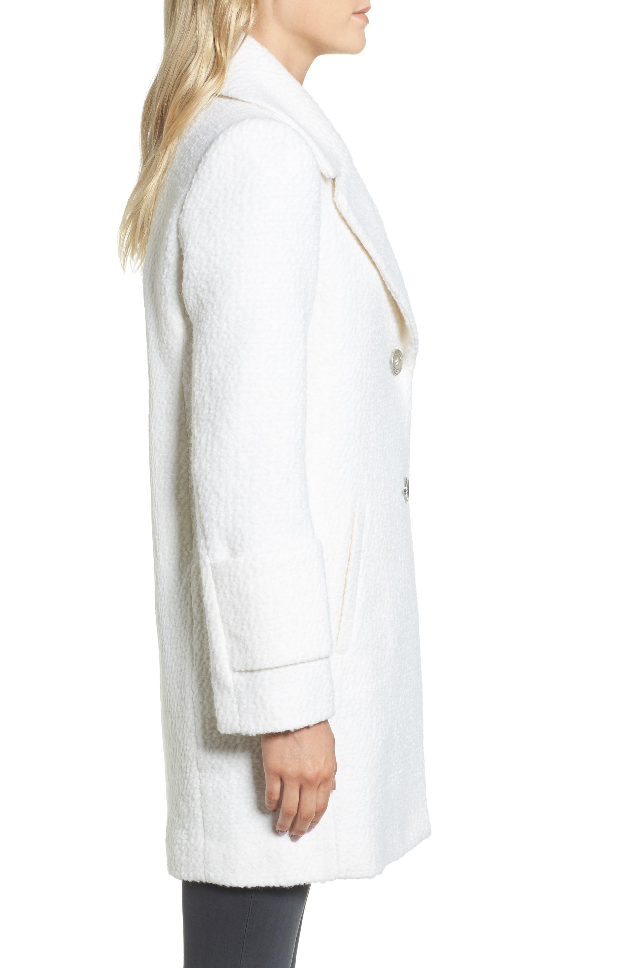 Notch Collar Bouclé Car Coat,                             Alternate thumbnail 3, color,                             Winter White