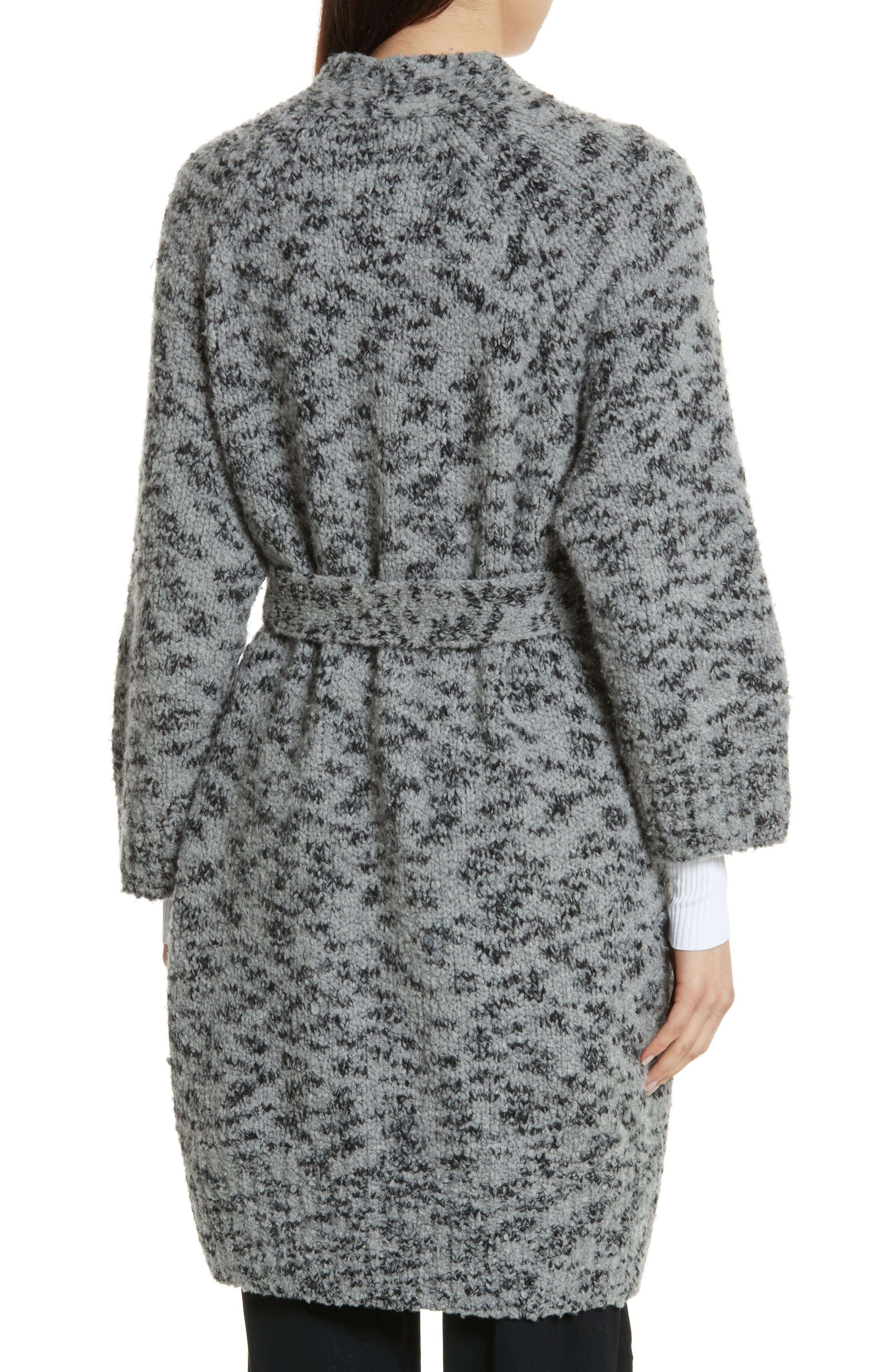 Textured Wool Blend Cardigan,                             Alternate thumbnail 2, color,                             Grey/ Black