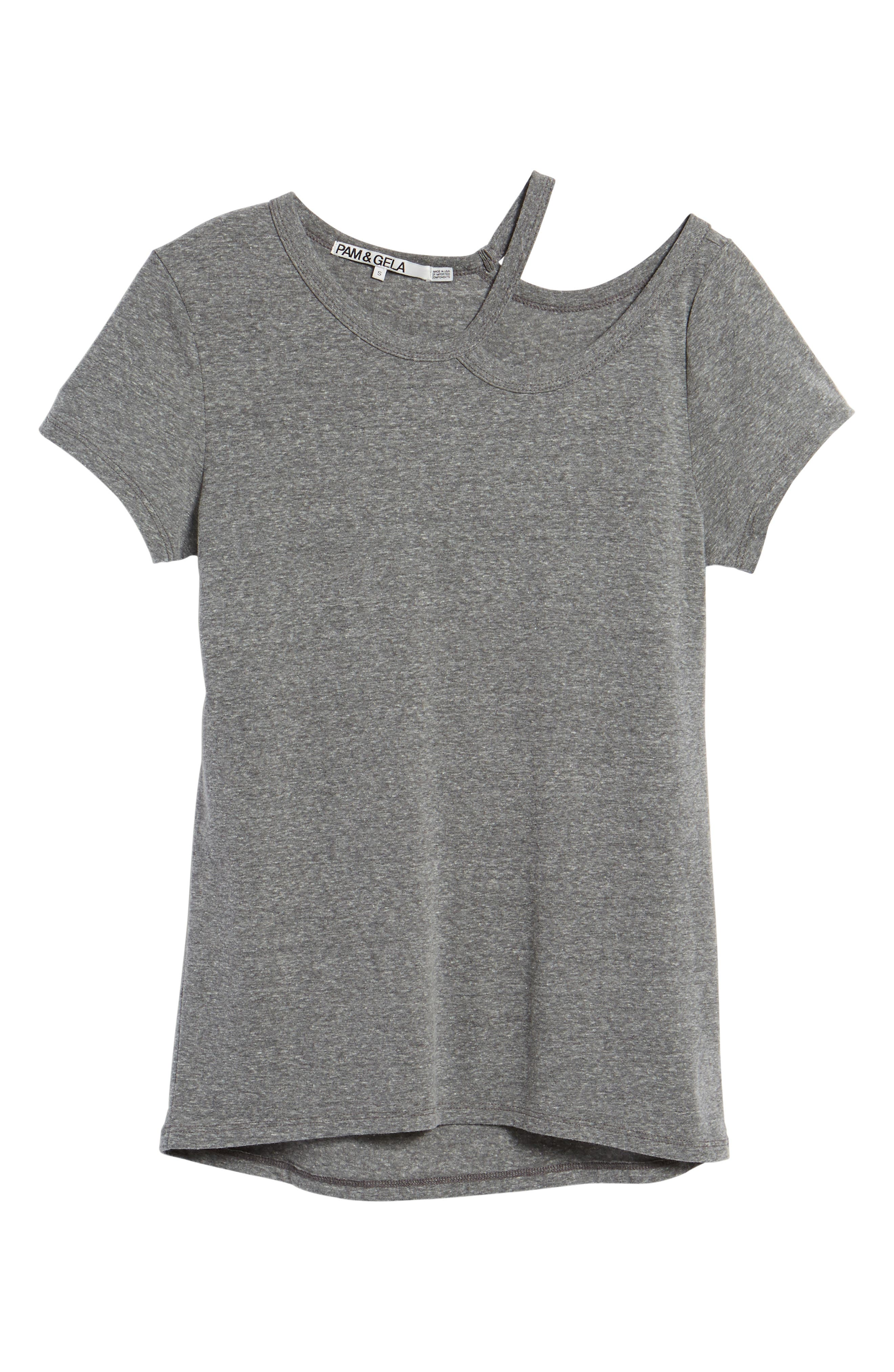 High/Low Hem Tee,                             Alternate thumbnail 6, color,                             Heather Grey