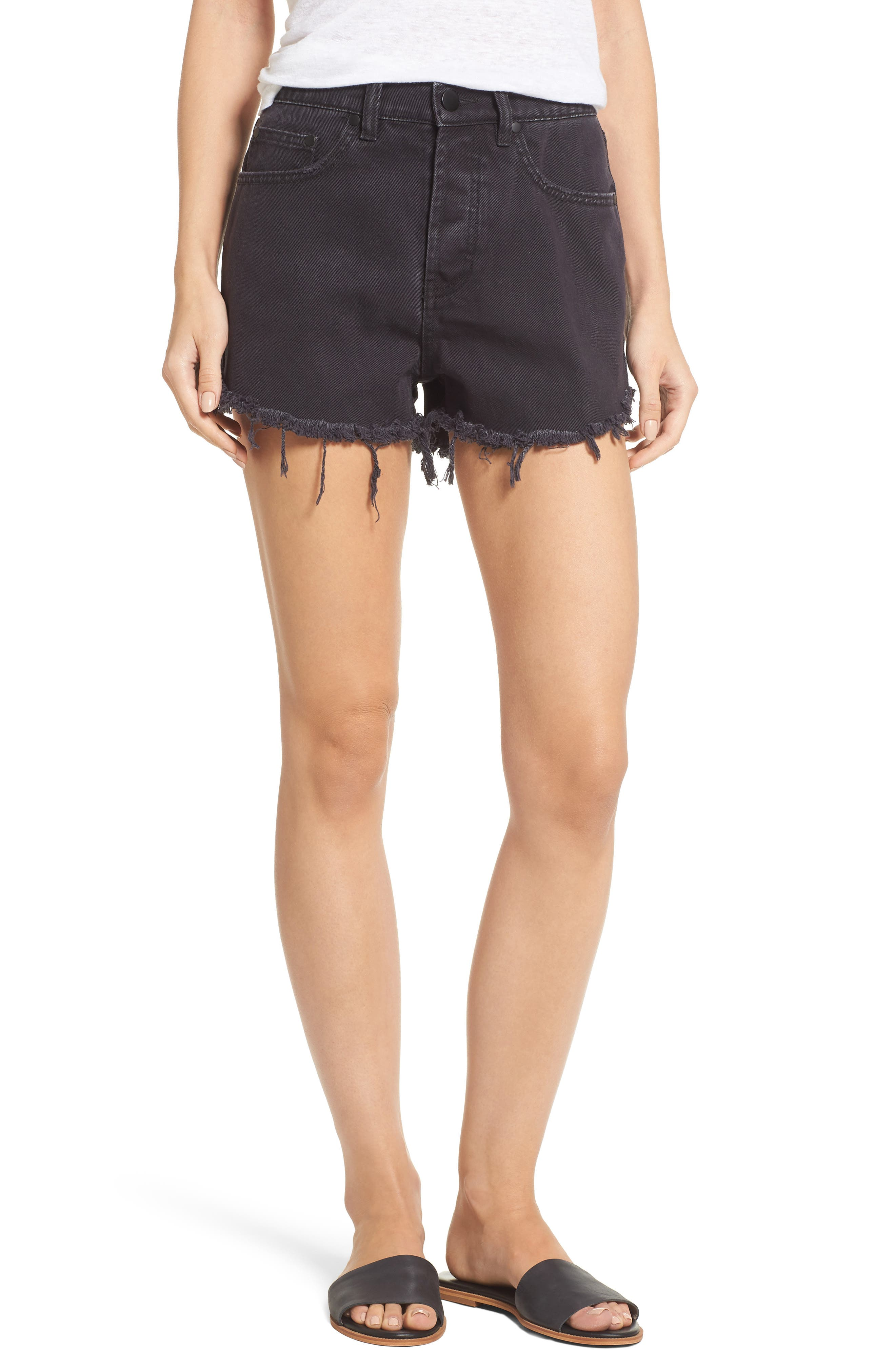Denim Shorts,                         Main,                         color, Black