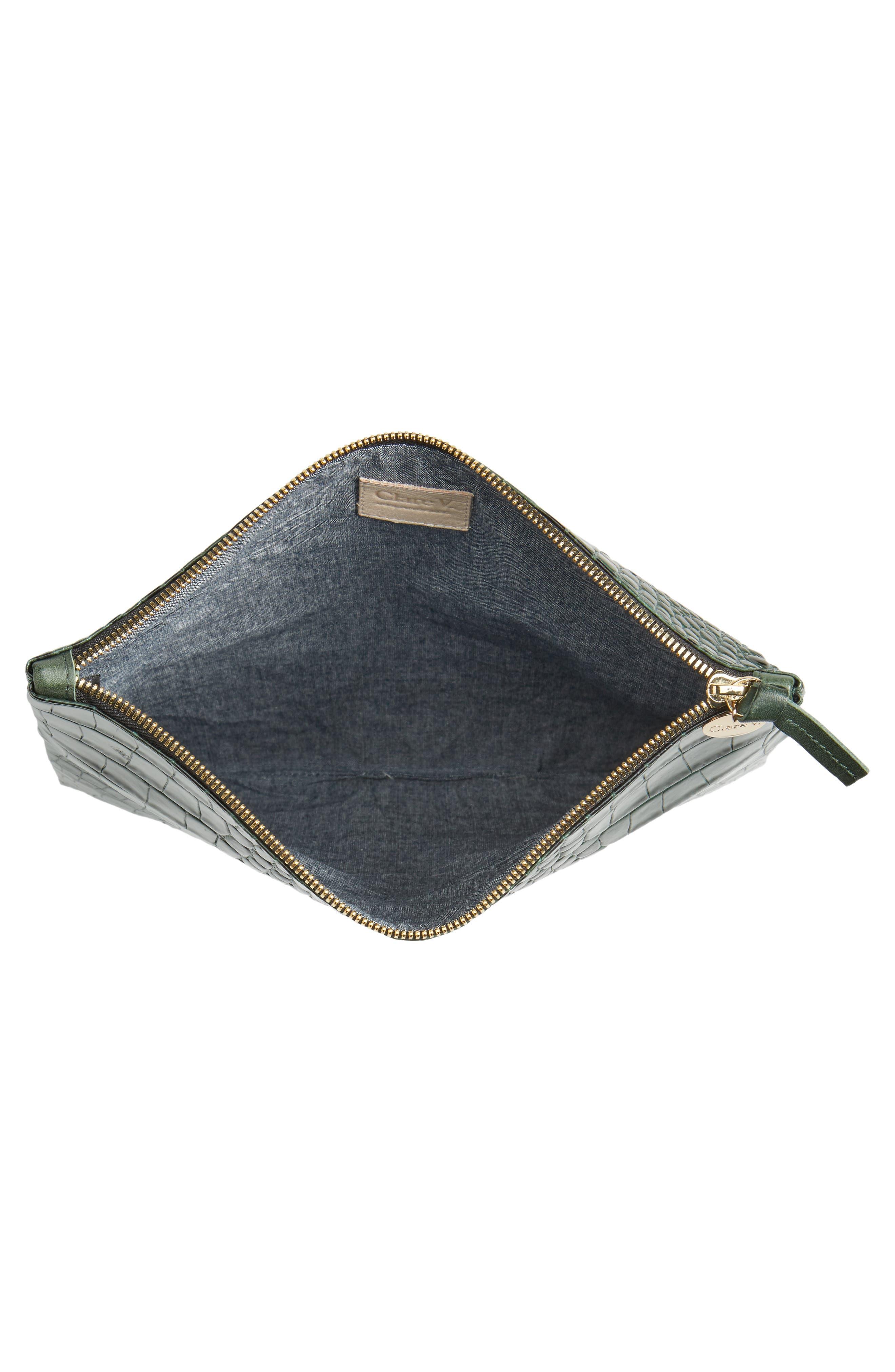 Alternate Image 3  - Clare V. Croc Embossed Leather Foldover Clutch