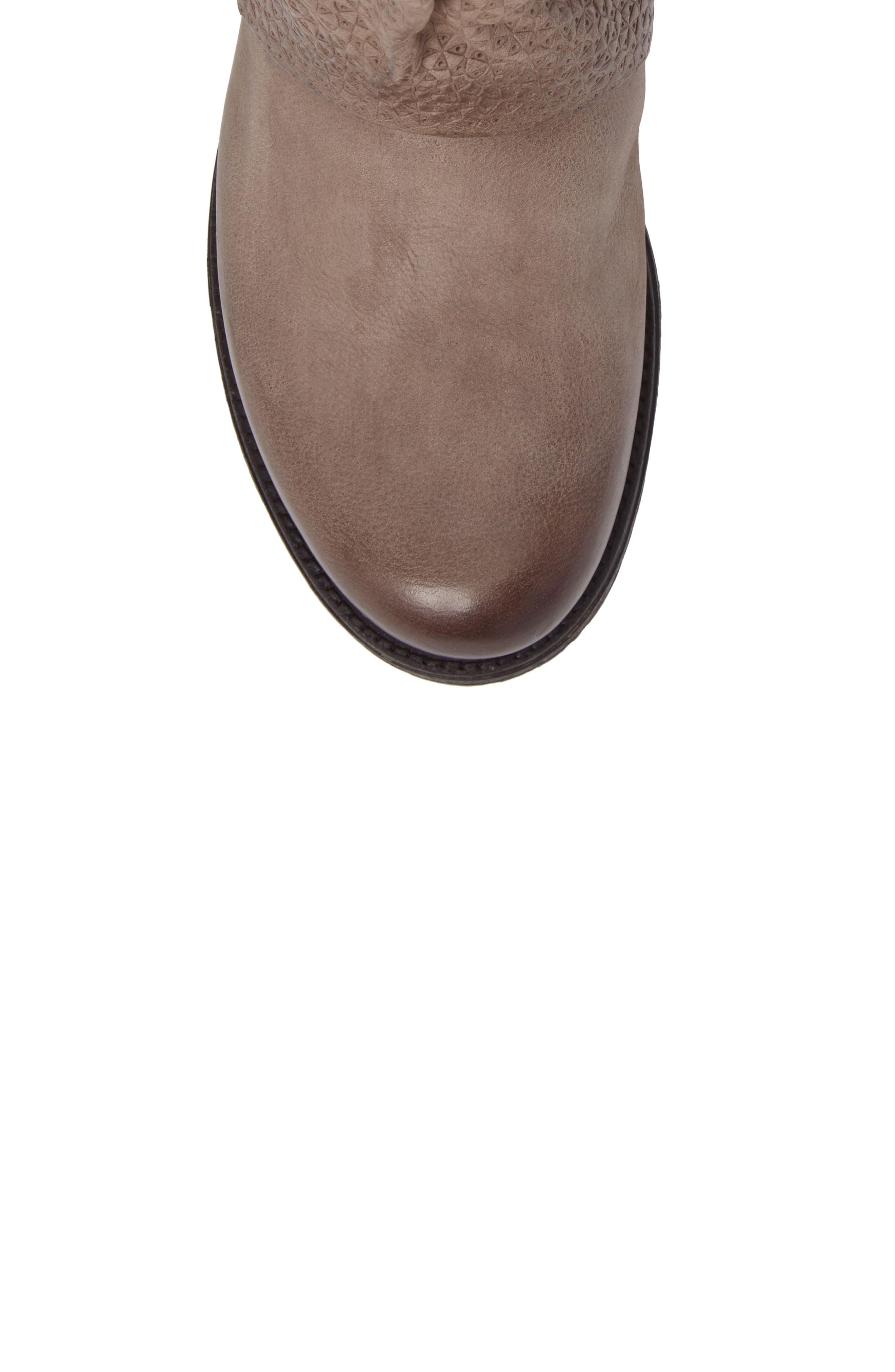 Nugget Asymmetrical Textured Boot,                             Alternate thumbnail 5, color,                             Ash