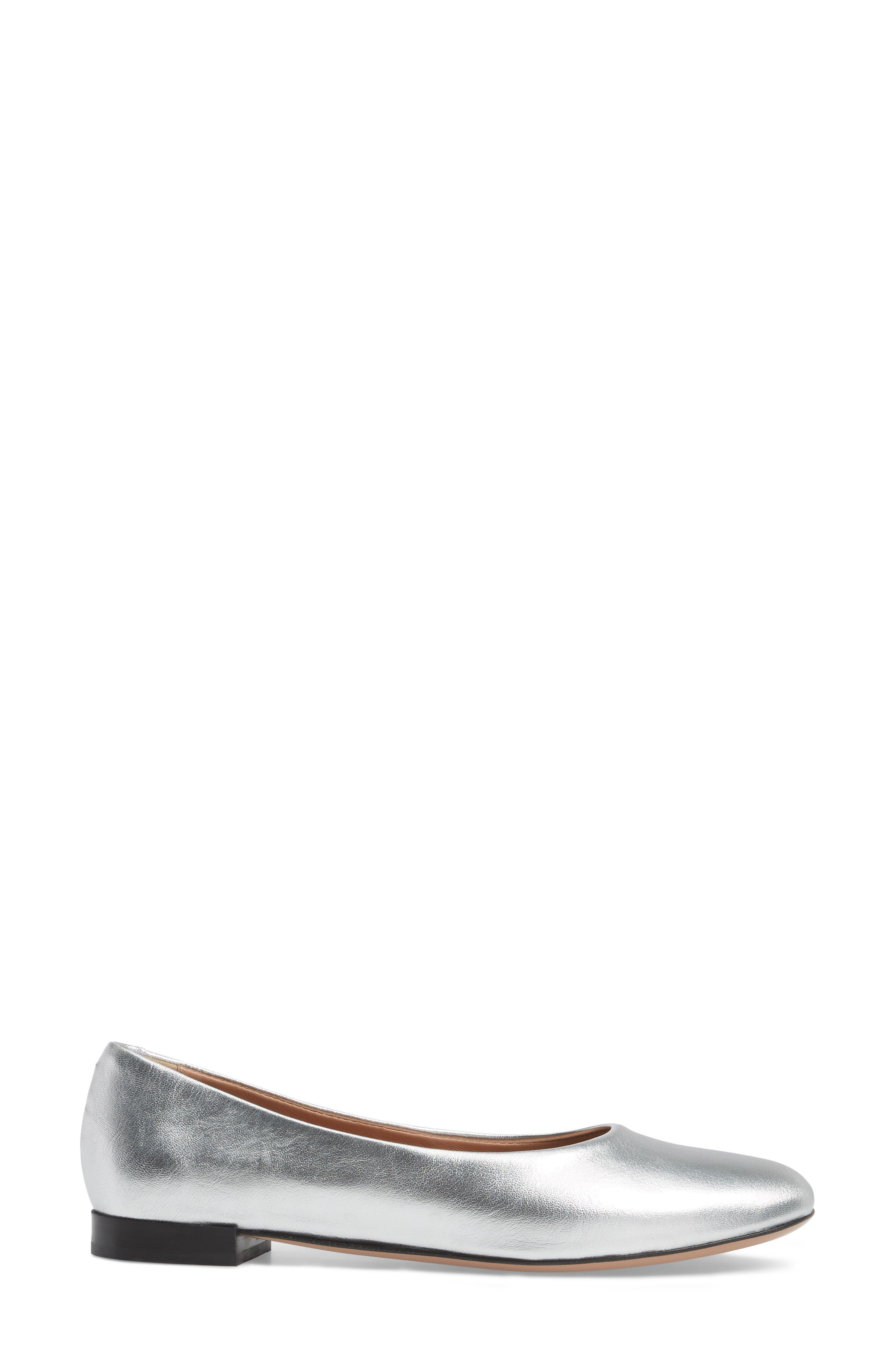 Gemma Ballerina Flat,                             Alternate thumbnail 3, color,                             Silver Leather