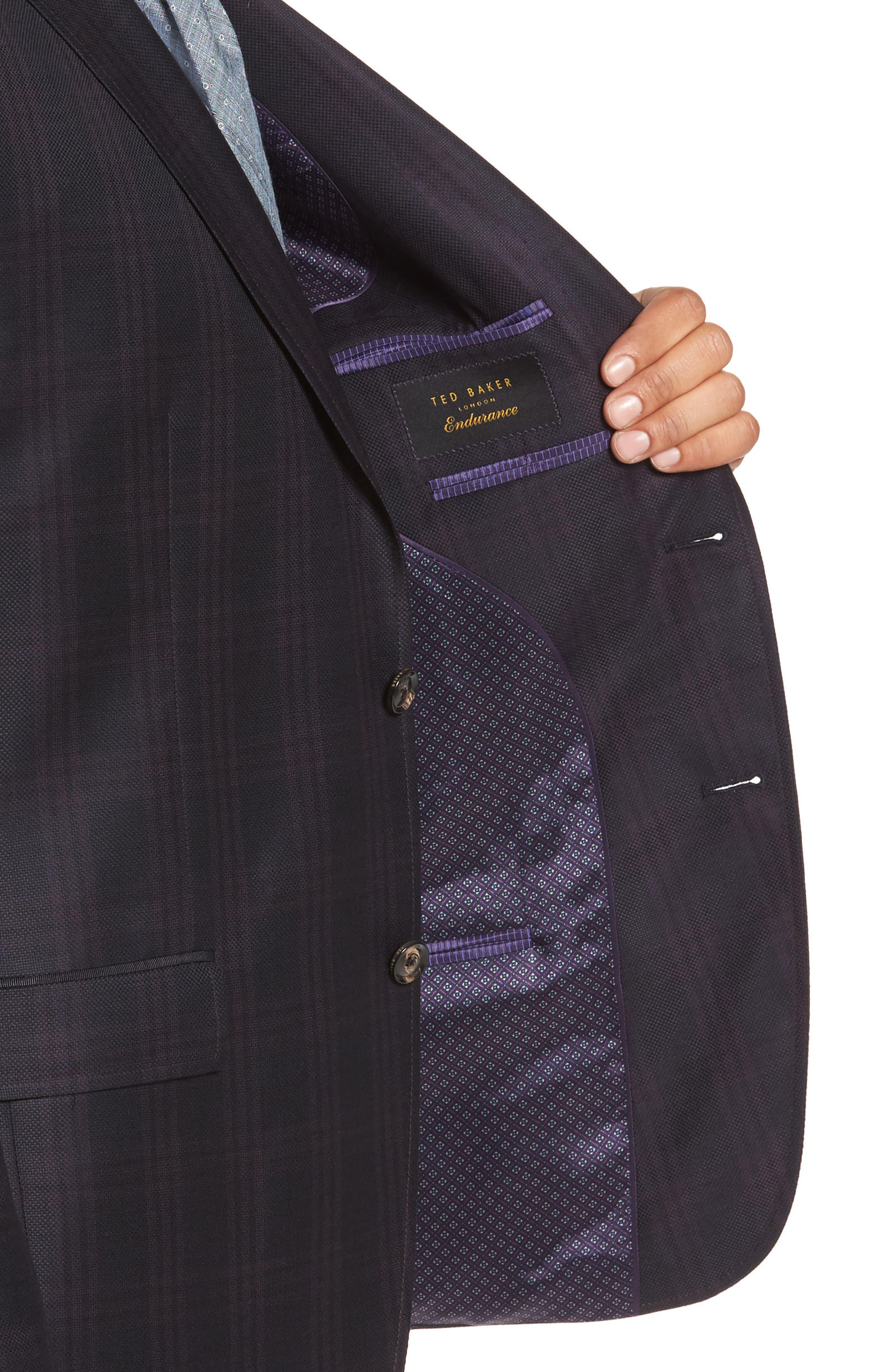Jed Trim Fit Plaid Wool Sport Coat,                             Alternate thumbnail 4, color,                             Black