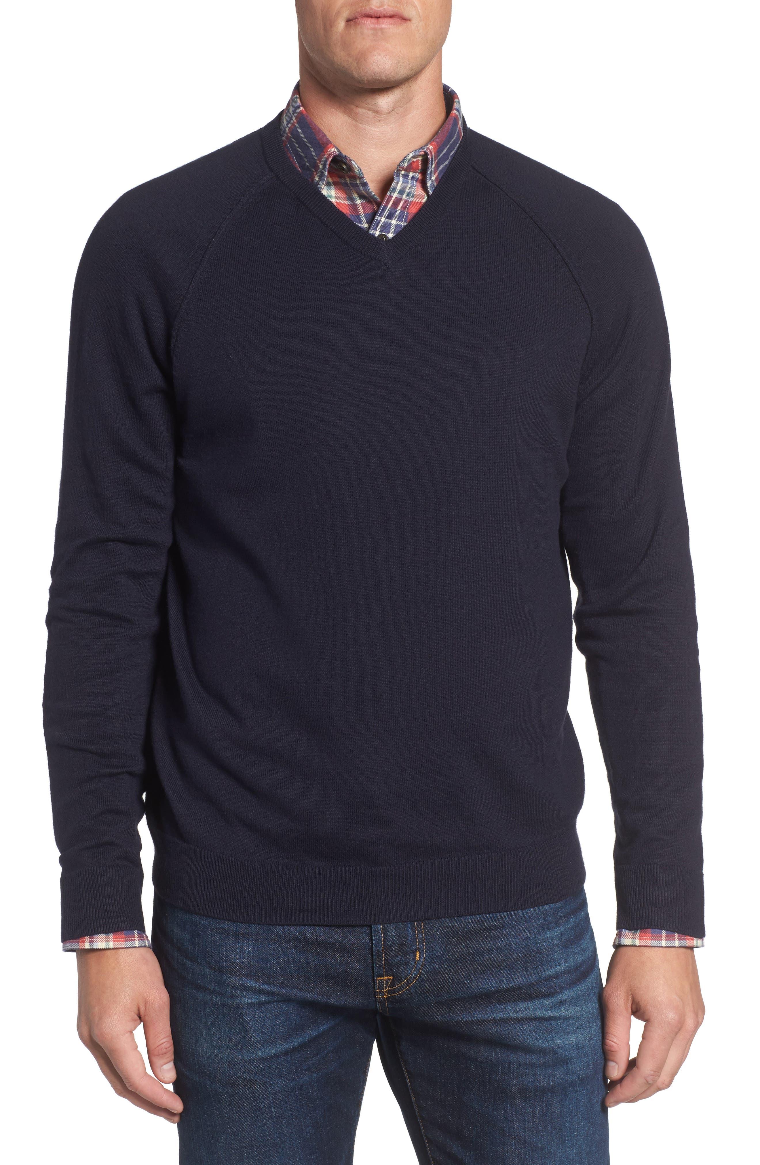 Saddle Shoulder Cotton & Cashmere V-Neck Sweater,                             Main thumbnail 1, color,                             Navy Night