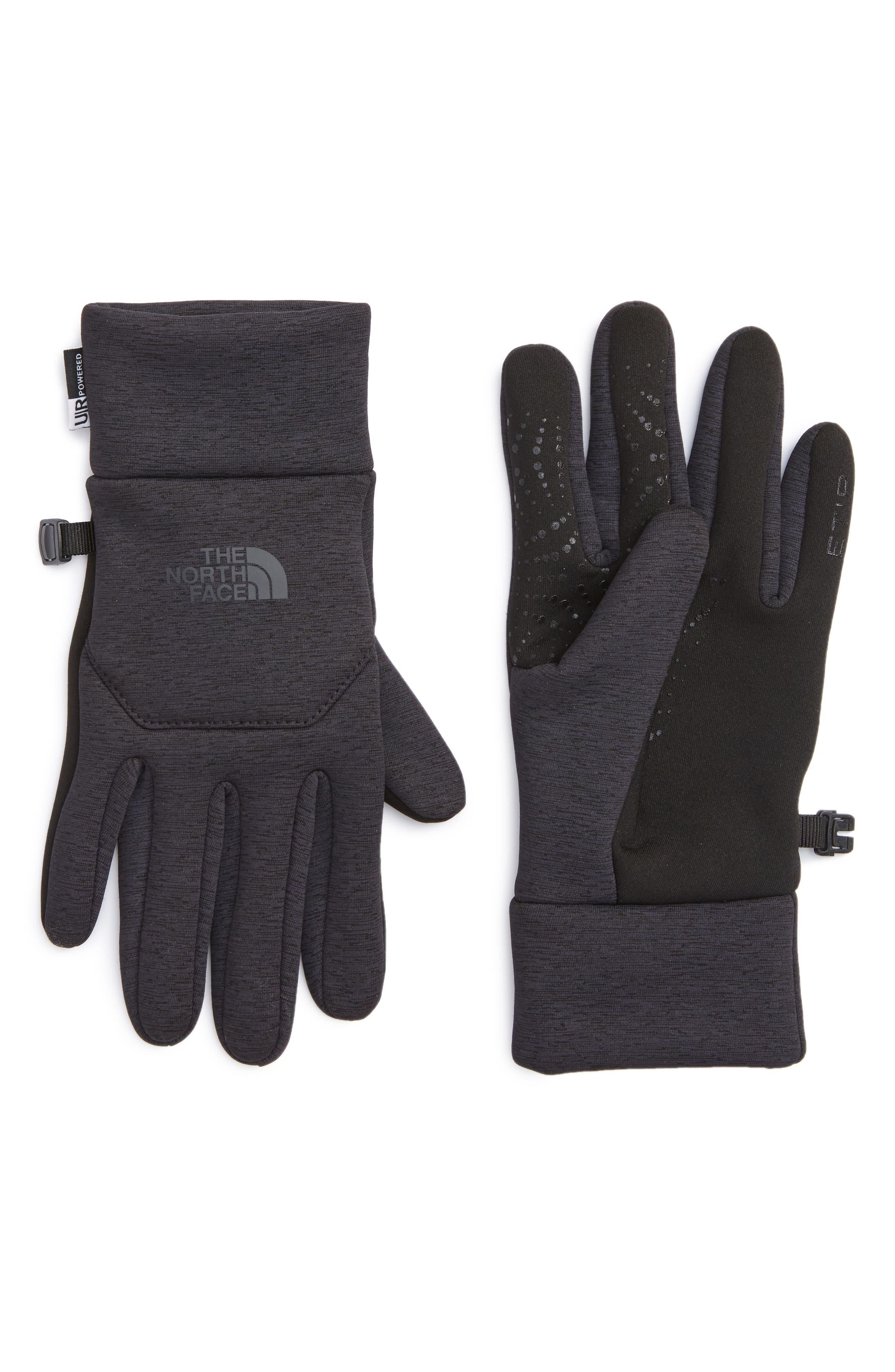'E-Tip' Fleece Tech Gloves,                         Main,                         color, Tnf Black Heather Print
