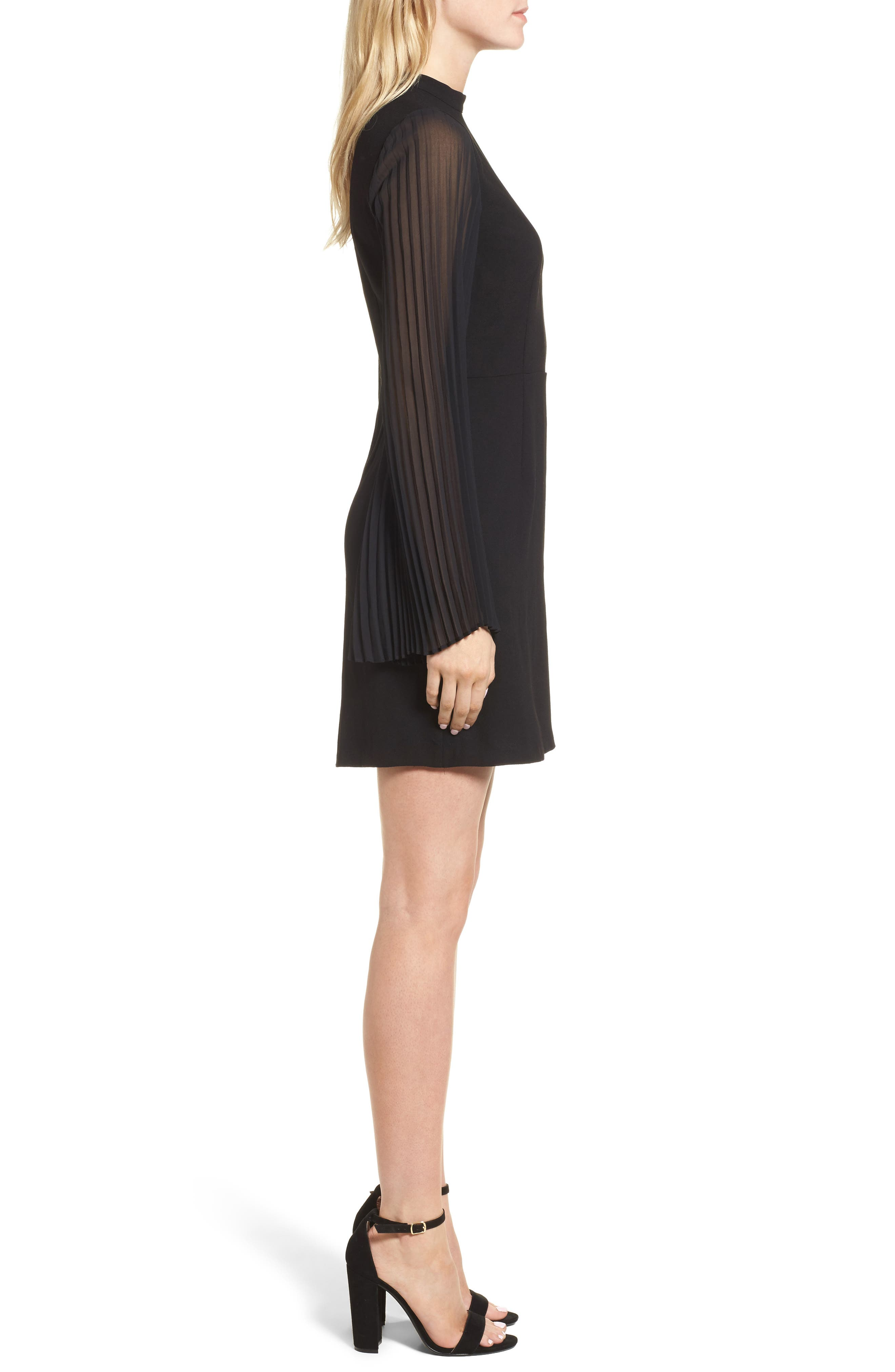 Yasmina Sheath Dress,                             Alternate thumbnail 3, color,                             Black