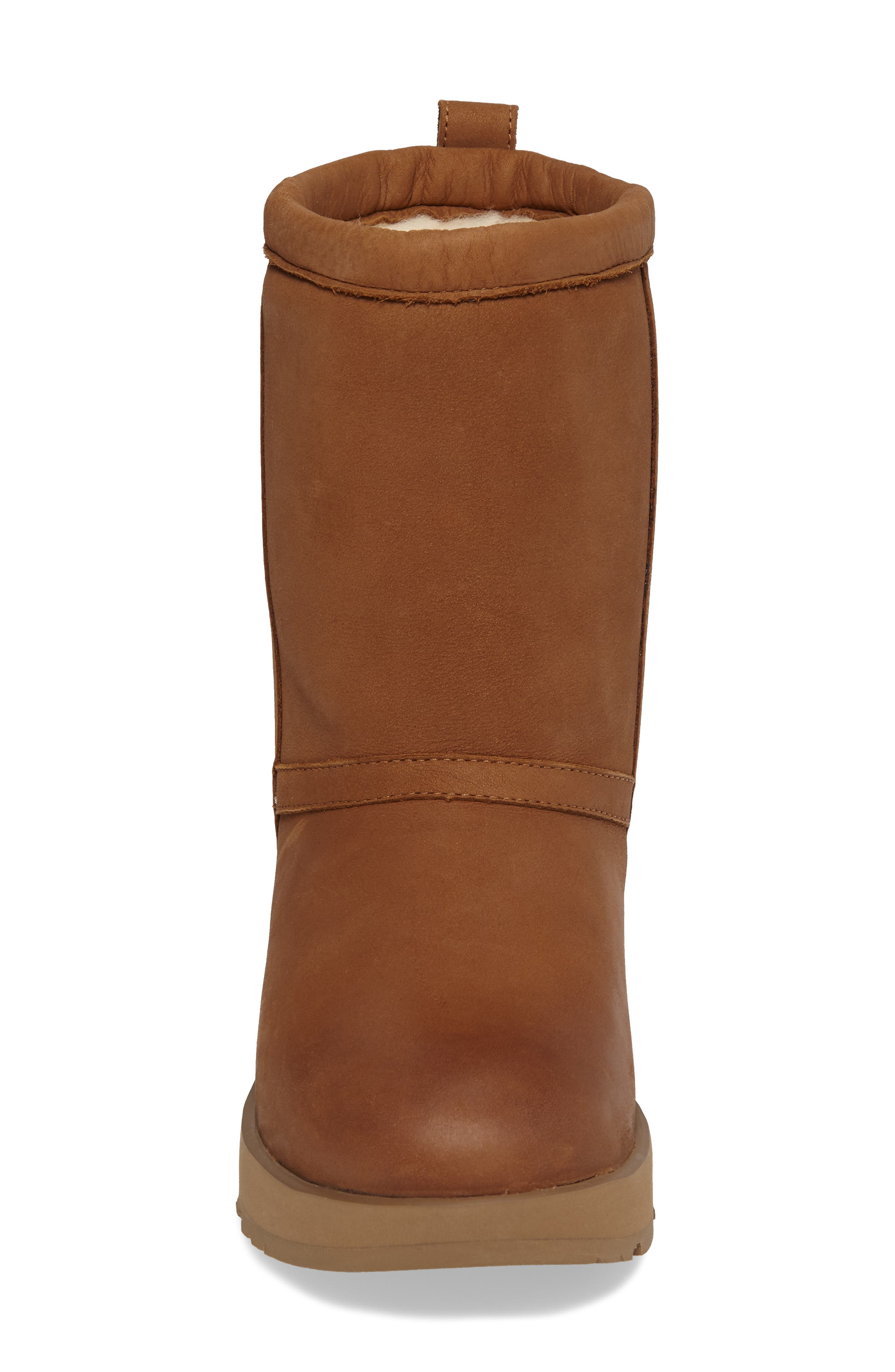Classic Genuine Shearling Lined Short Waterproof Boot,                             Alternate thumbnail 4, color,                             Chestnut Leather