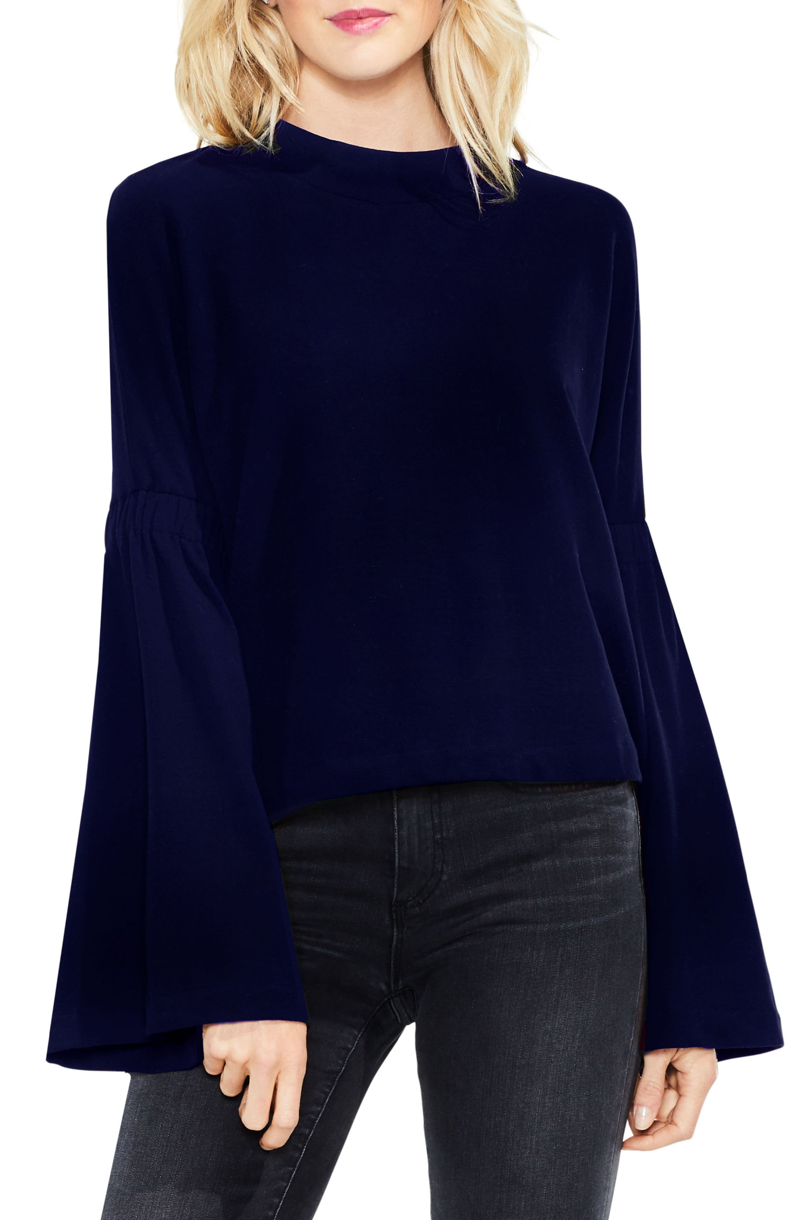 Mock Neck Bell Sleeve Top,                             Main thumbnail 1, color,                             Blue Night