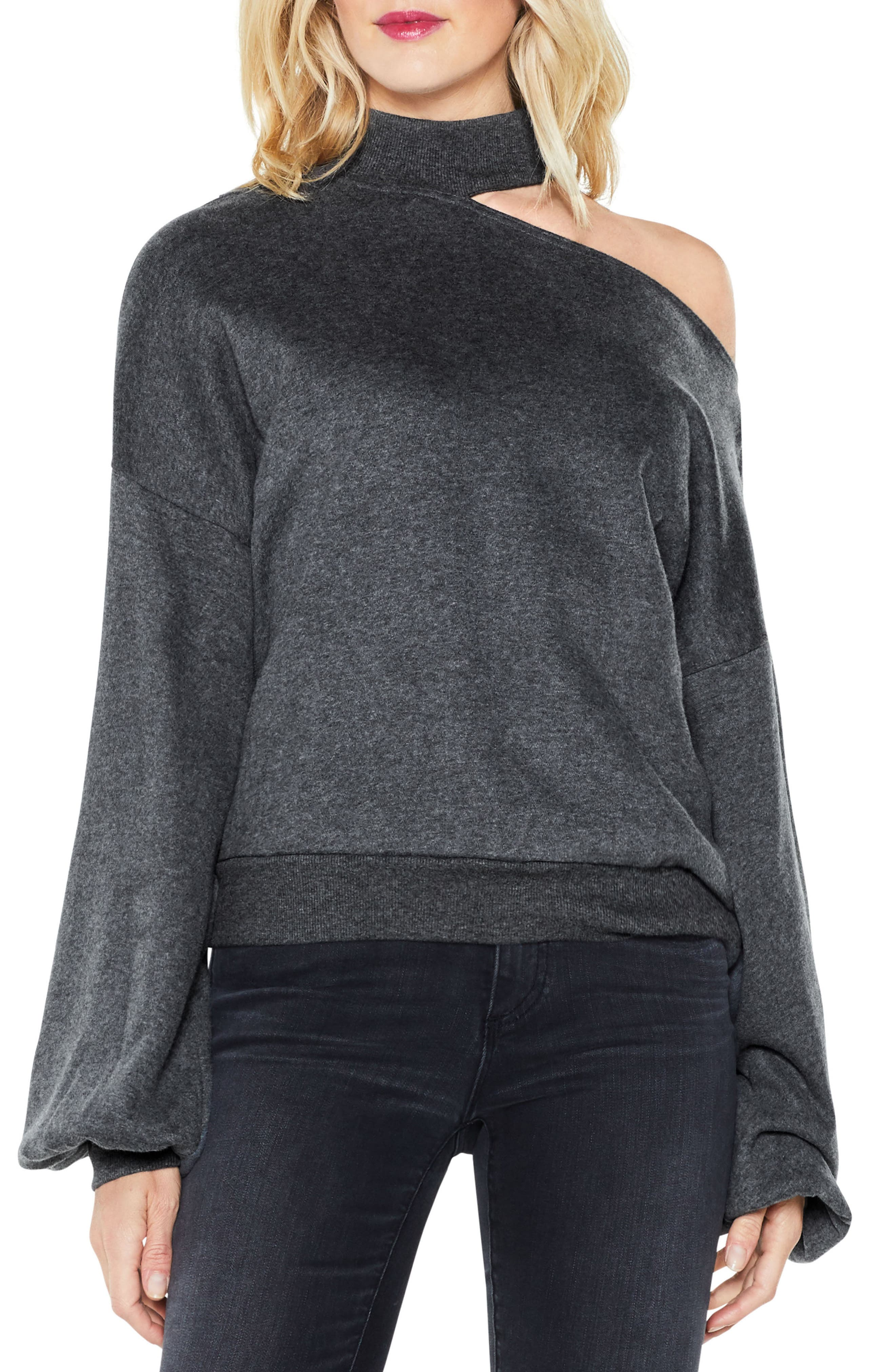 Main Image - Two by Vince Camuto One-Shoulder Pullover (Regular & Petite)
