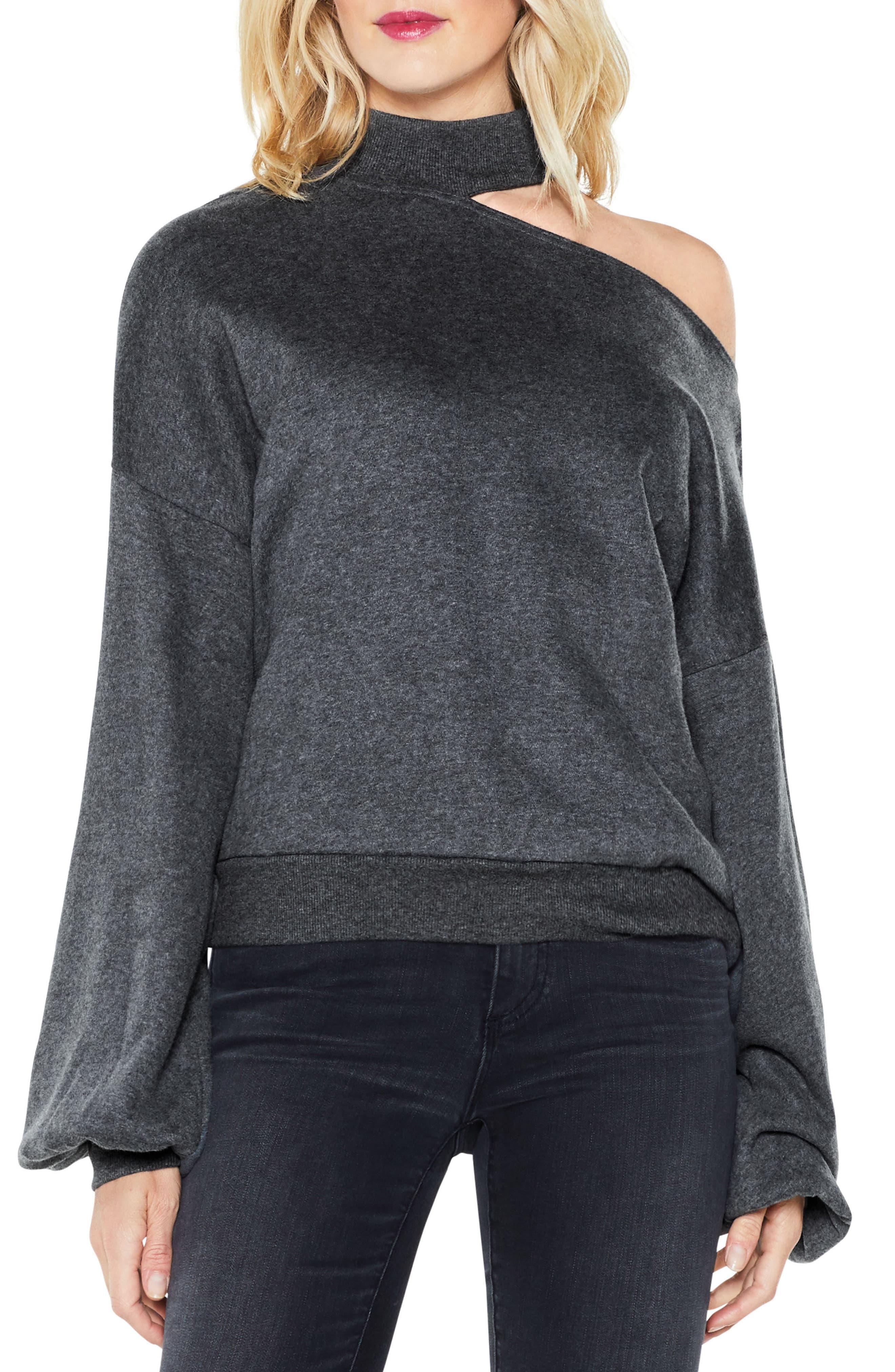 One-Shoulder Pullover,                         Main,                         color, Medium Heather Grey