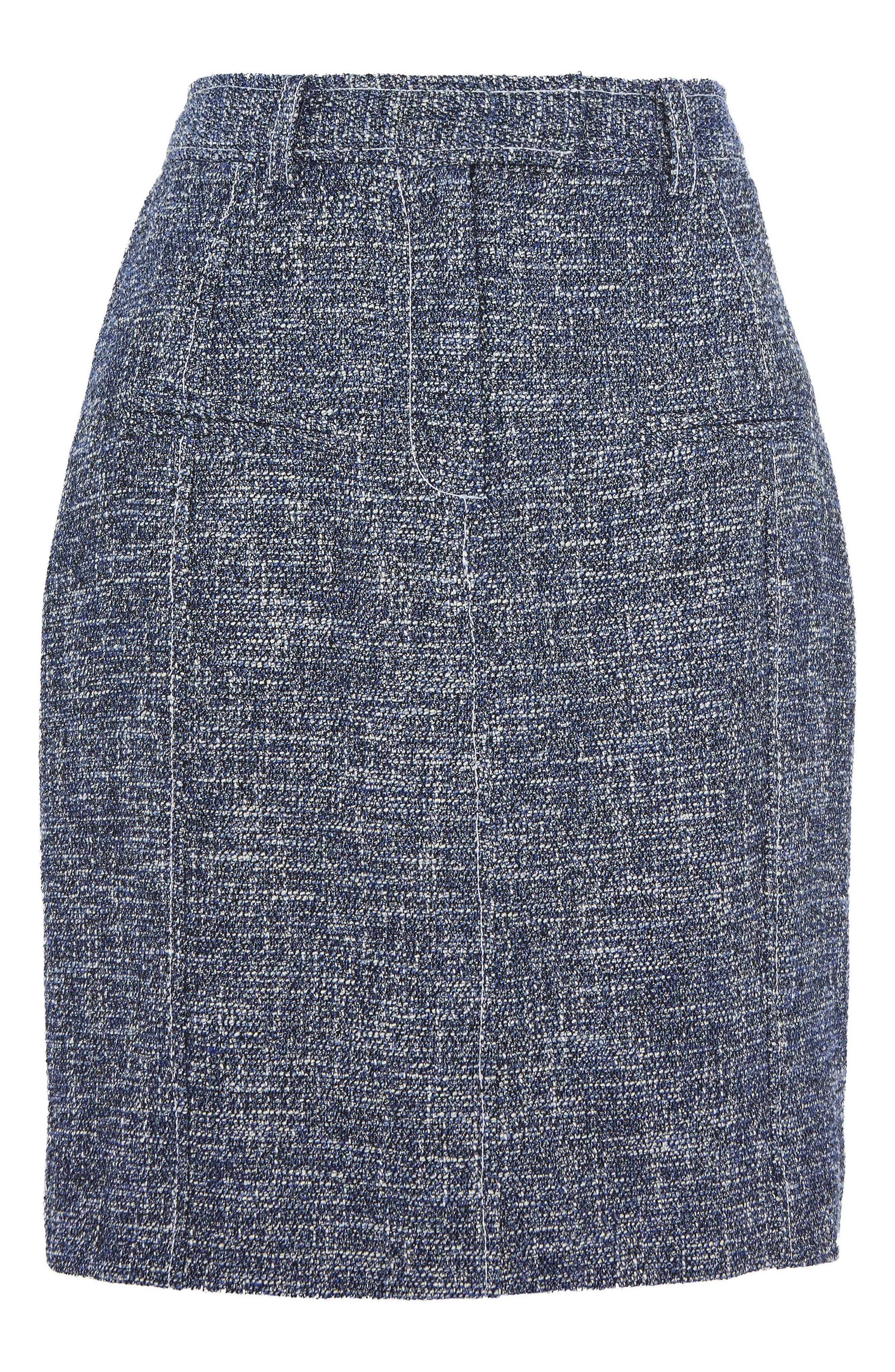Bouclé Pencil Skirt,                         Main,                         color, Blue