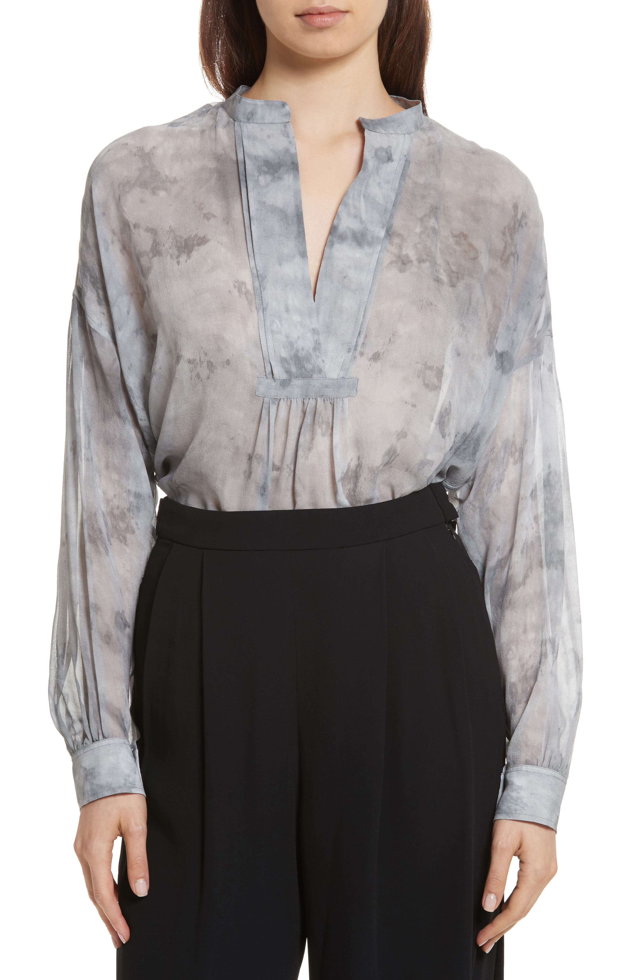 Main Image - Vince Watercolor Marble Print Silk Blouse