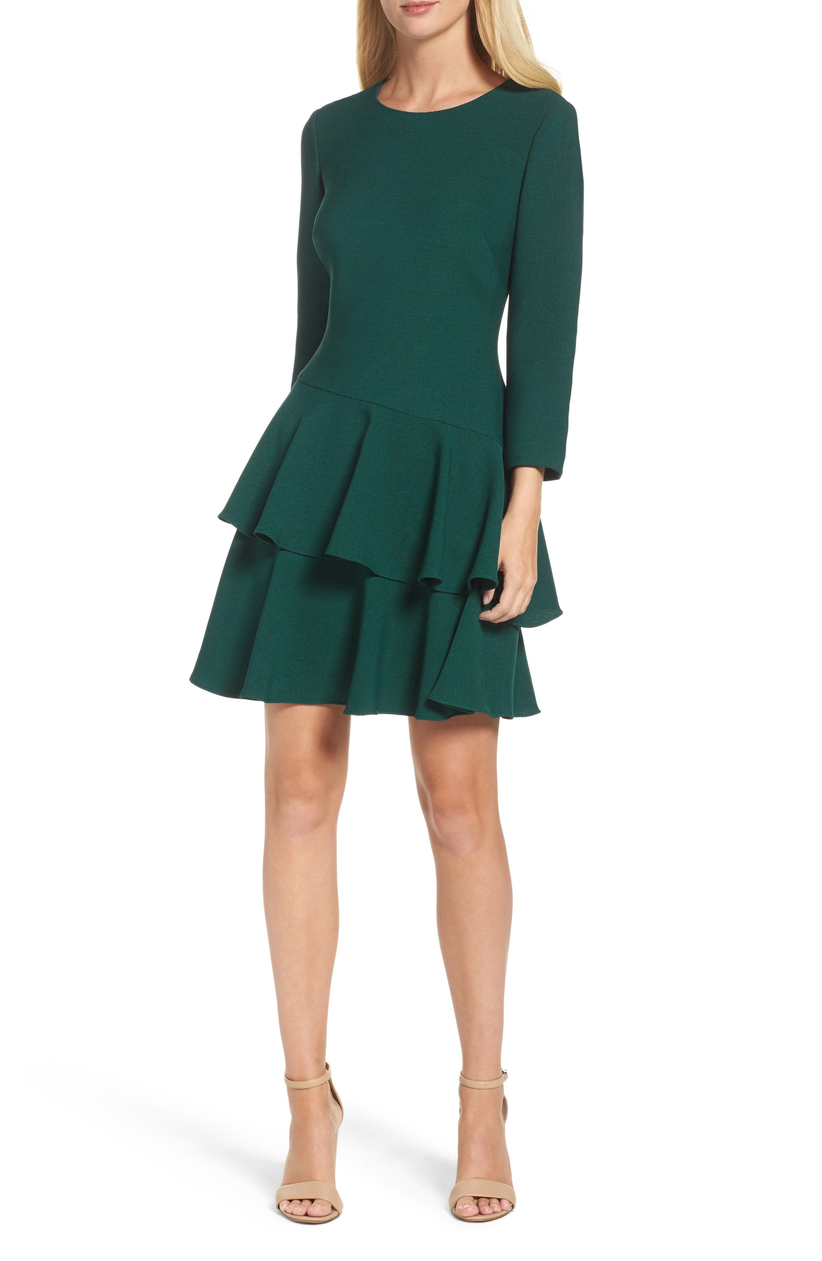 Tiered Ruffle Knit Dress,                         Main,                         color, Hunter