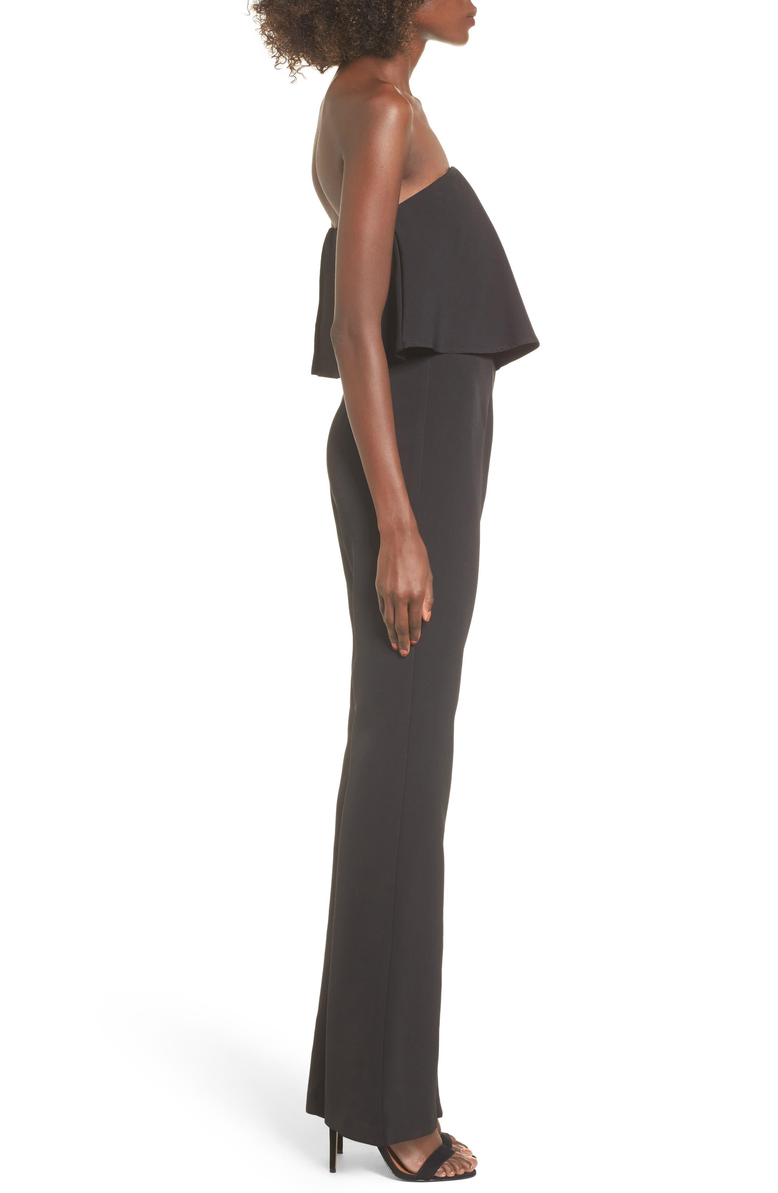 Popover Strapless Jumpsuit,                             Alternate thumbnail 3, color,                             Black