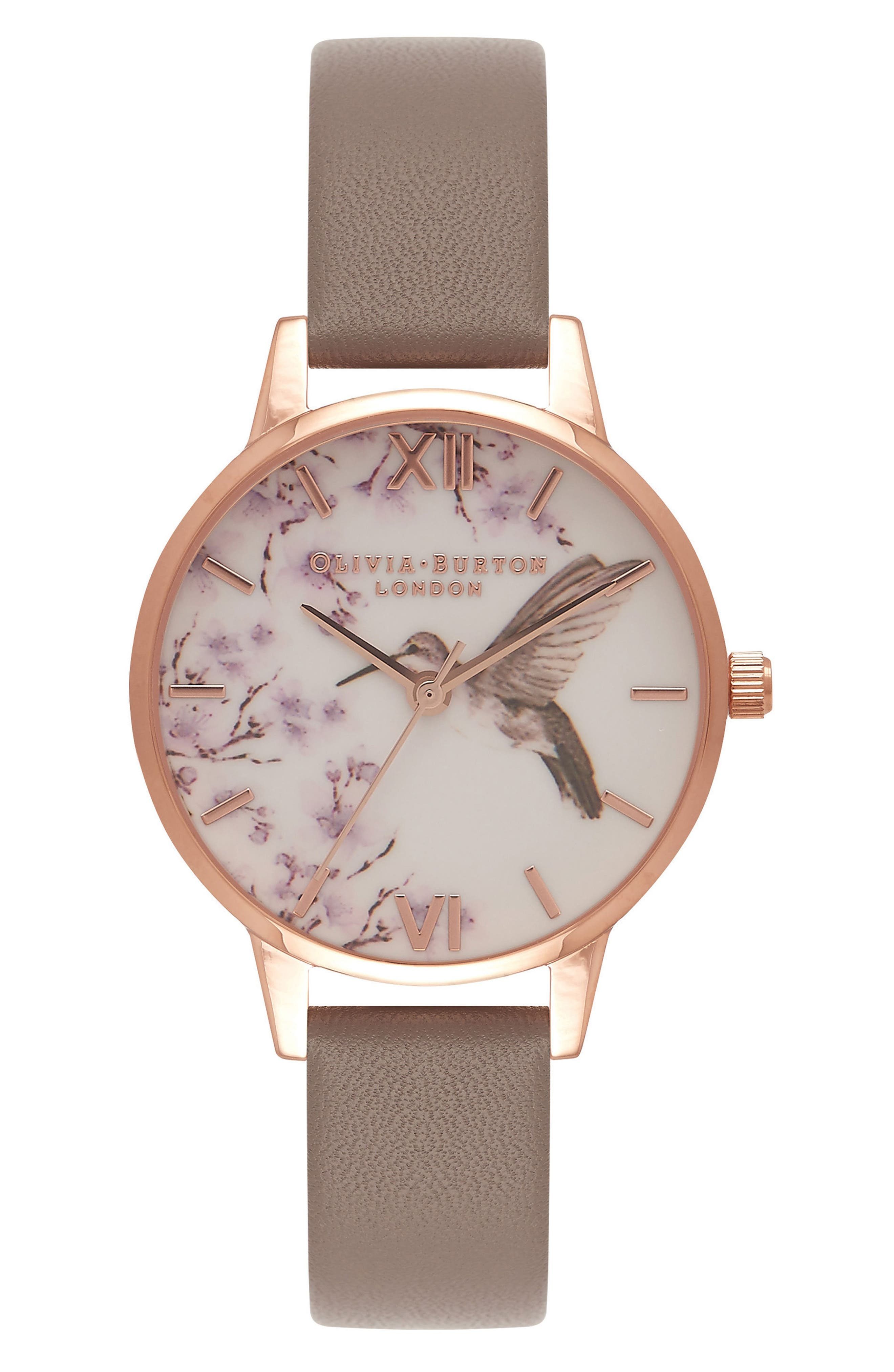 Olivia Burton Hummingbird Floral Leather Strap Watch, 30mm