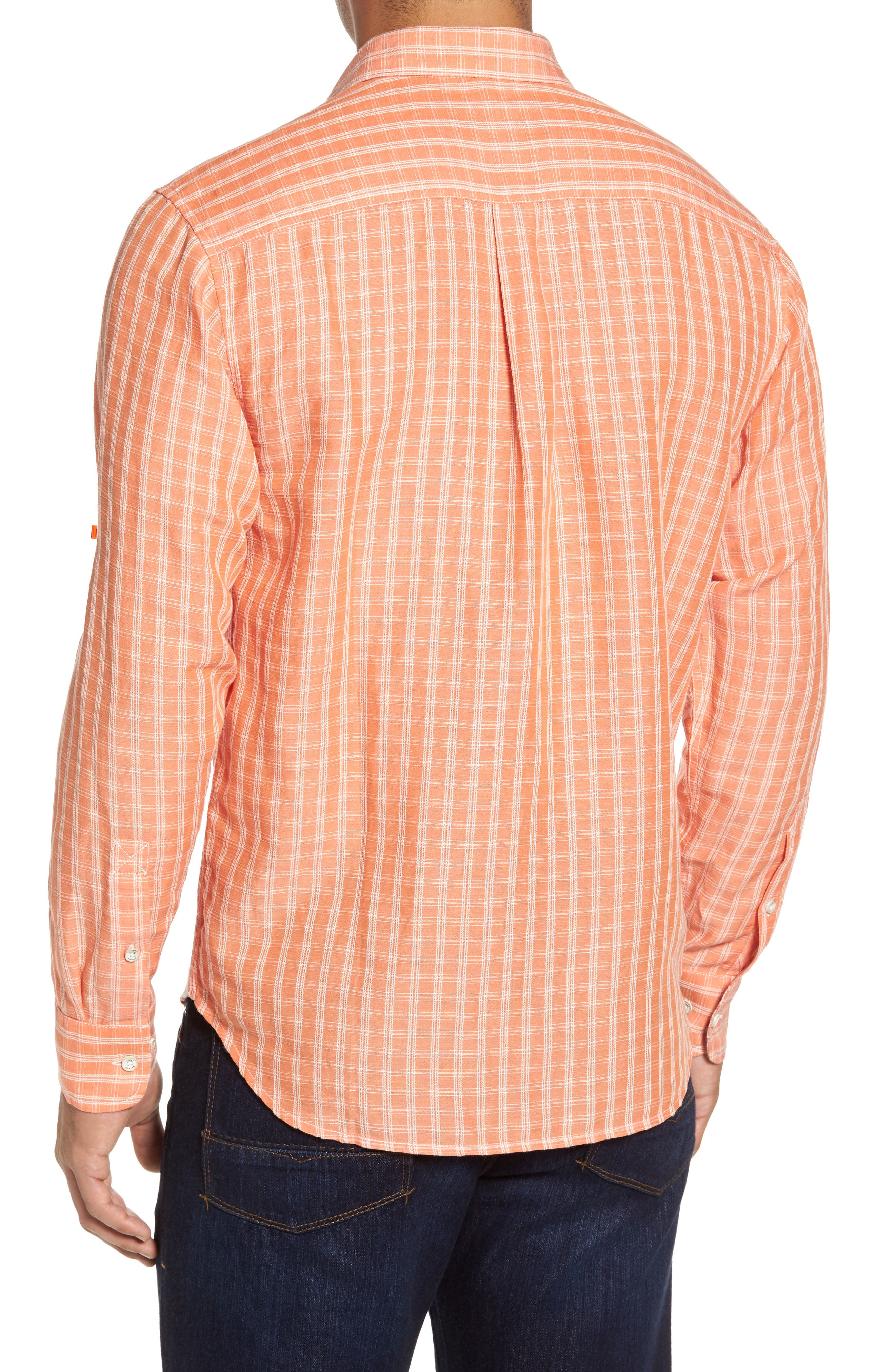 Plaid Sand Linen Blend Sport Shirt,                             Alternate thumbnail 2, color,                             Curuba