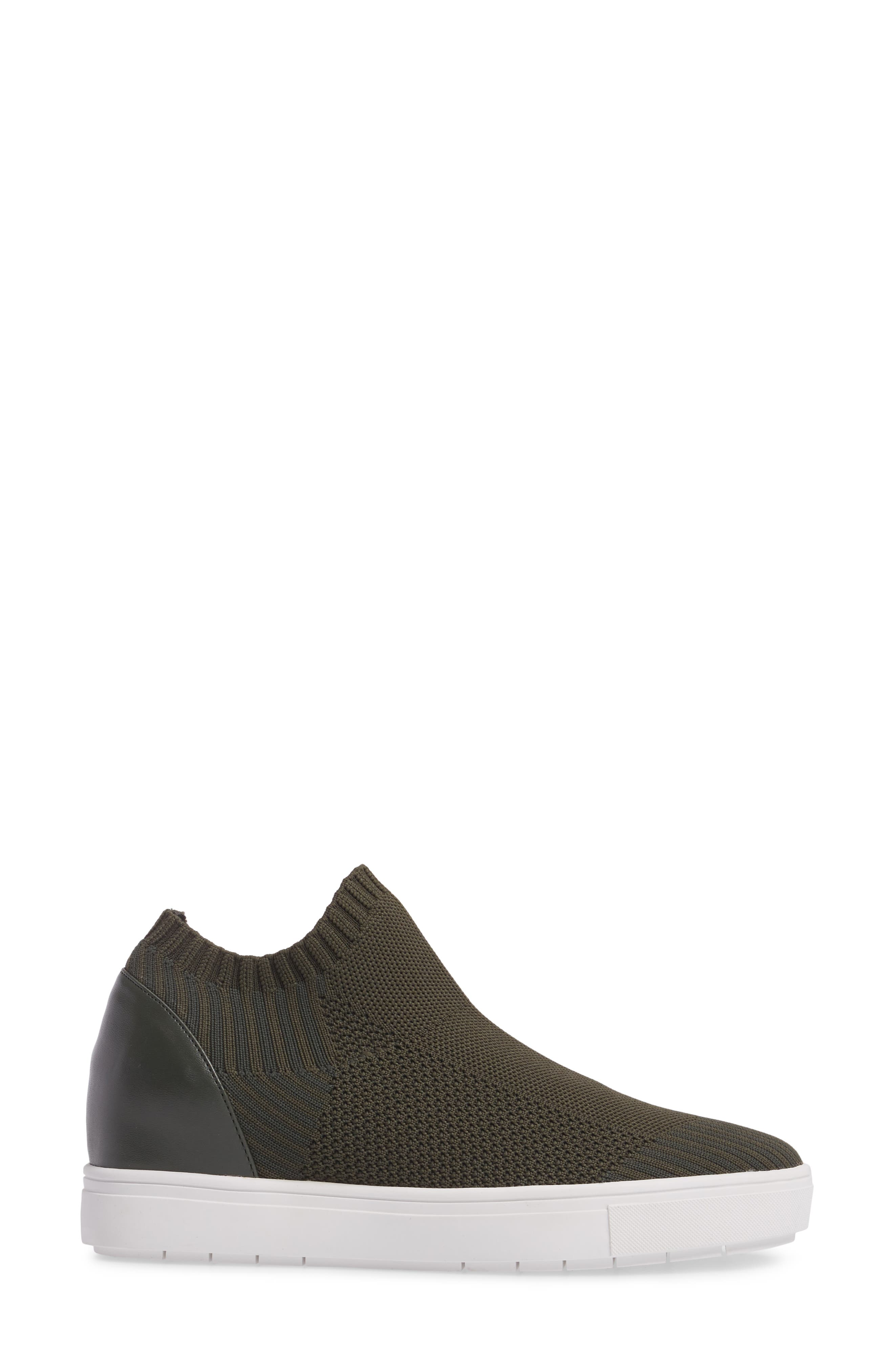 Sly Hidden Wedge Knit Sneaker,                             Alternate thumbnail 3, color,                             Olive Fabric