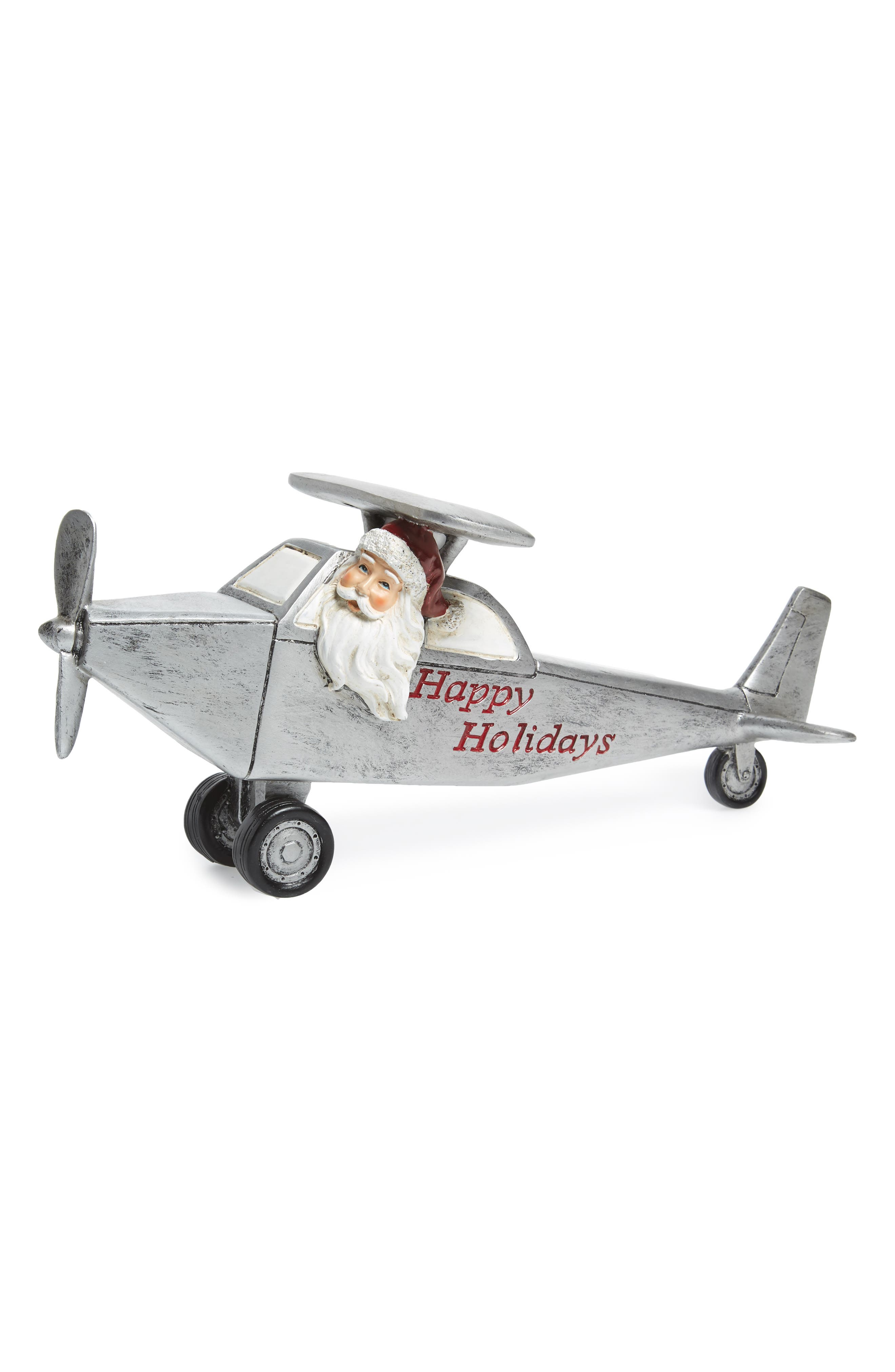 Santa Airplane Ornament,                         Main,                         color, Silver