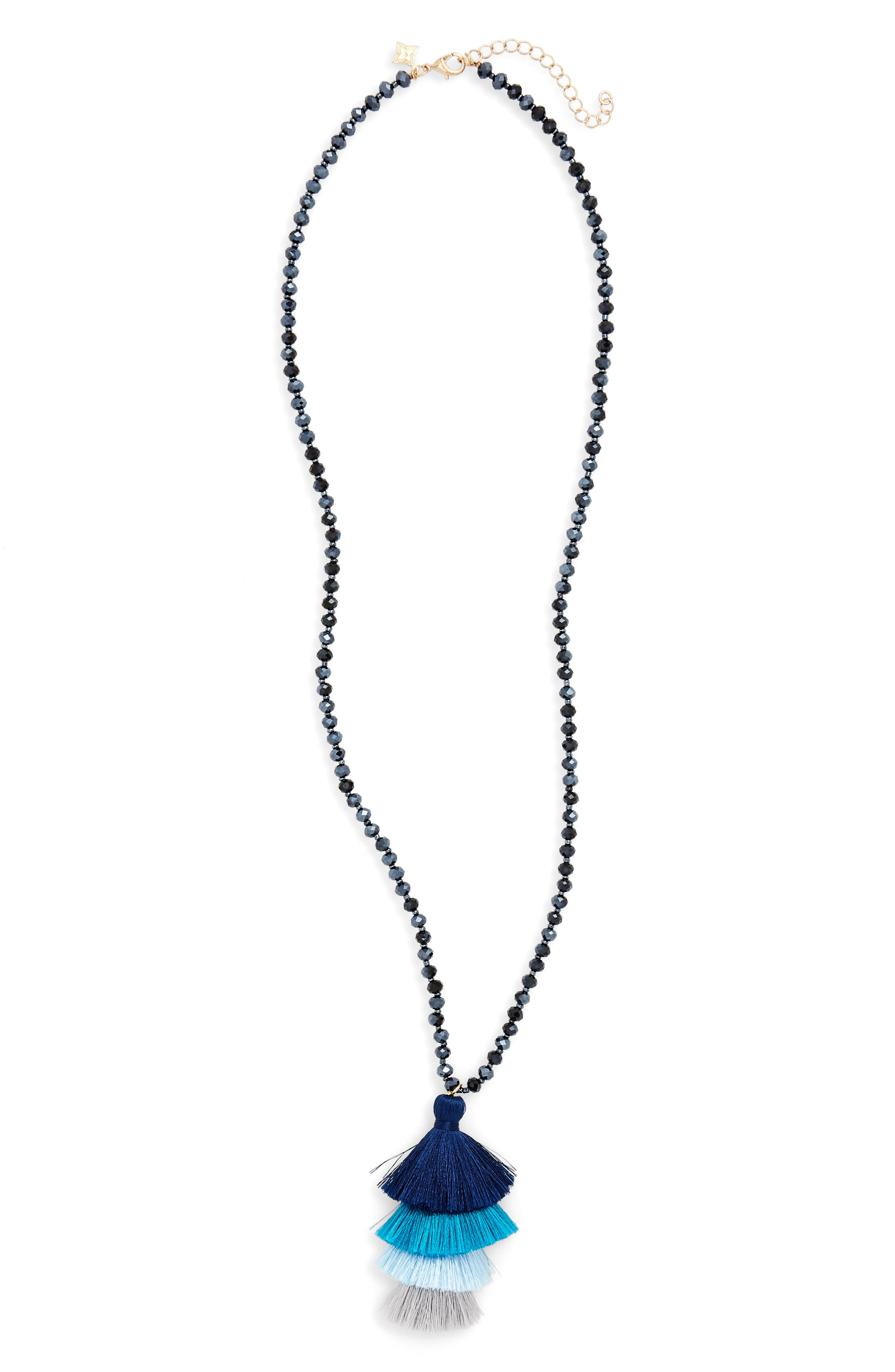 Stacked Tassel Necklace,                         Main,                         color, Navy