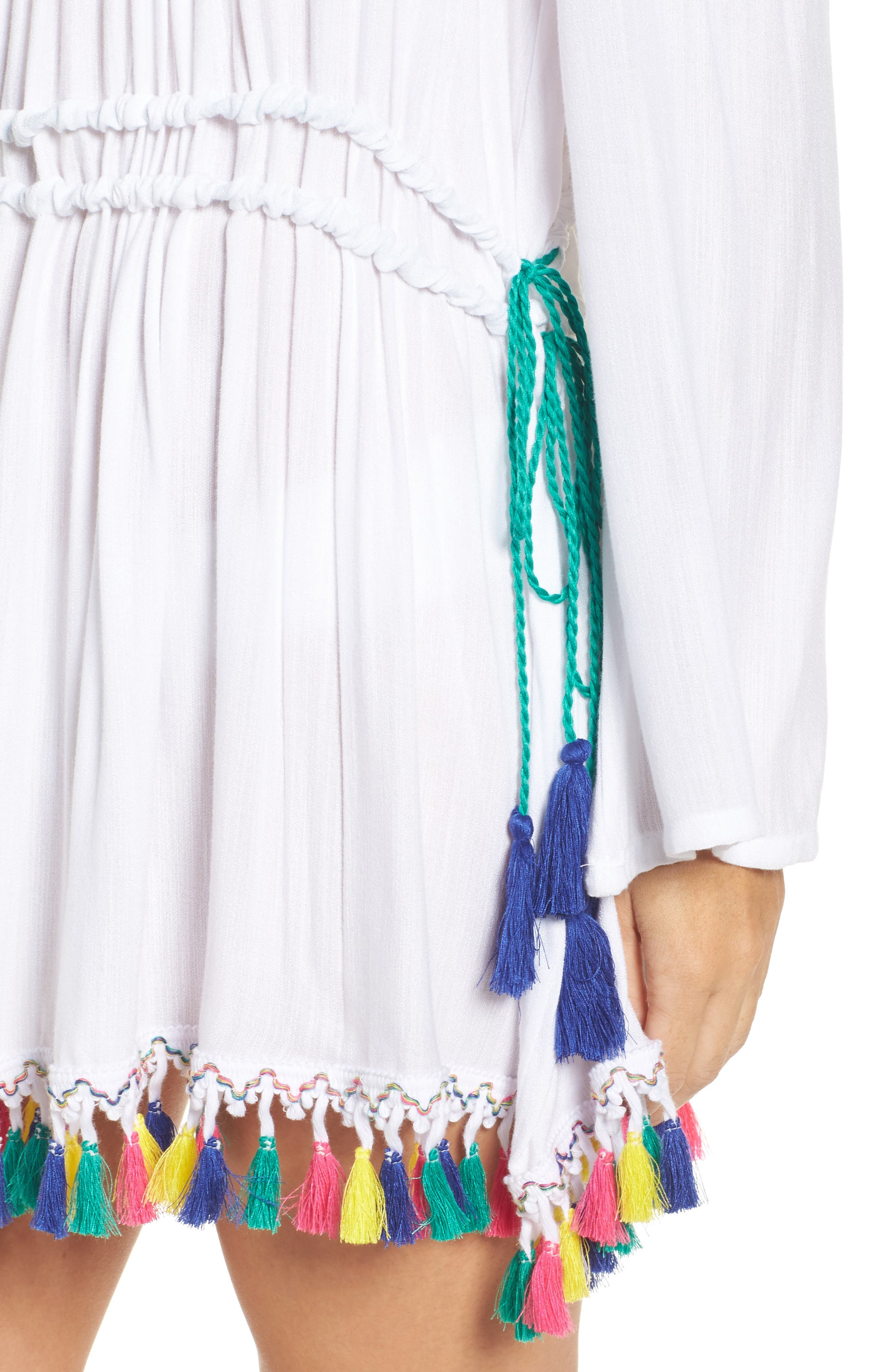 Fiesta Cover-Up Dress,                             Alternate thumbnail 4, color,                             White