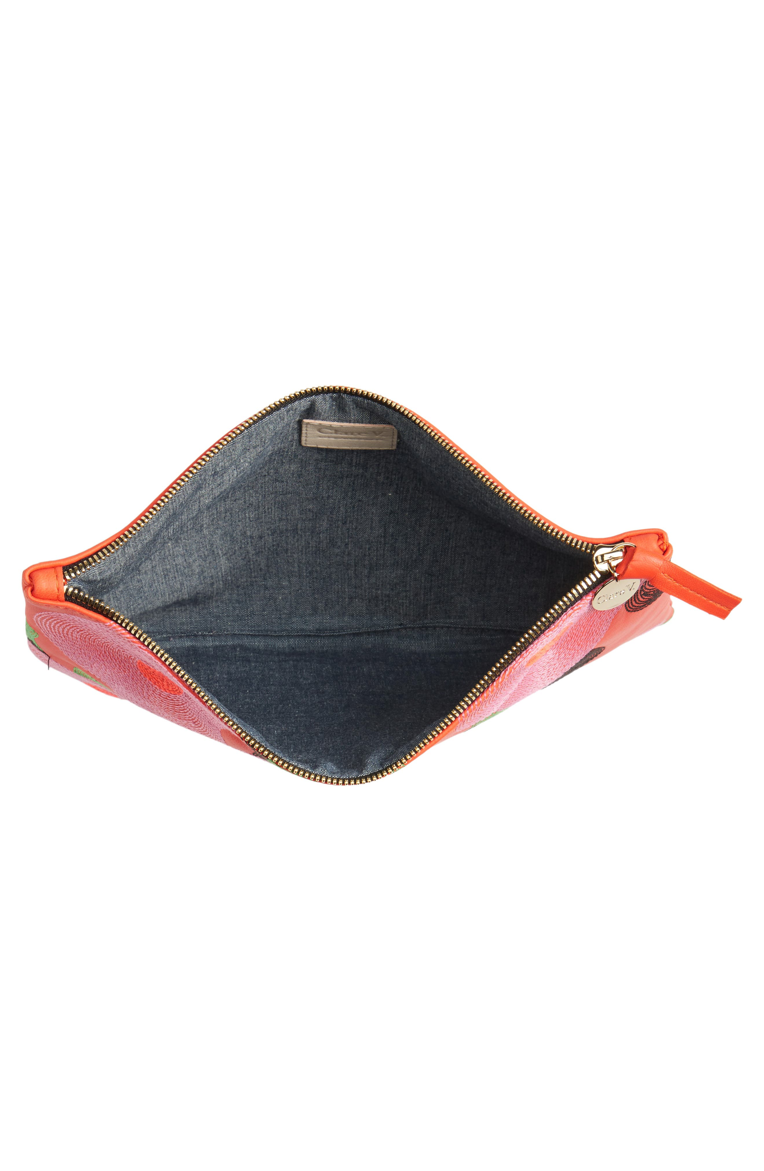 Alternate Image 3  - Clare V. Embroidered Poppy Leather Flat Clutch