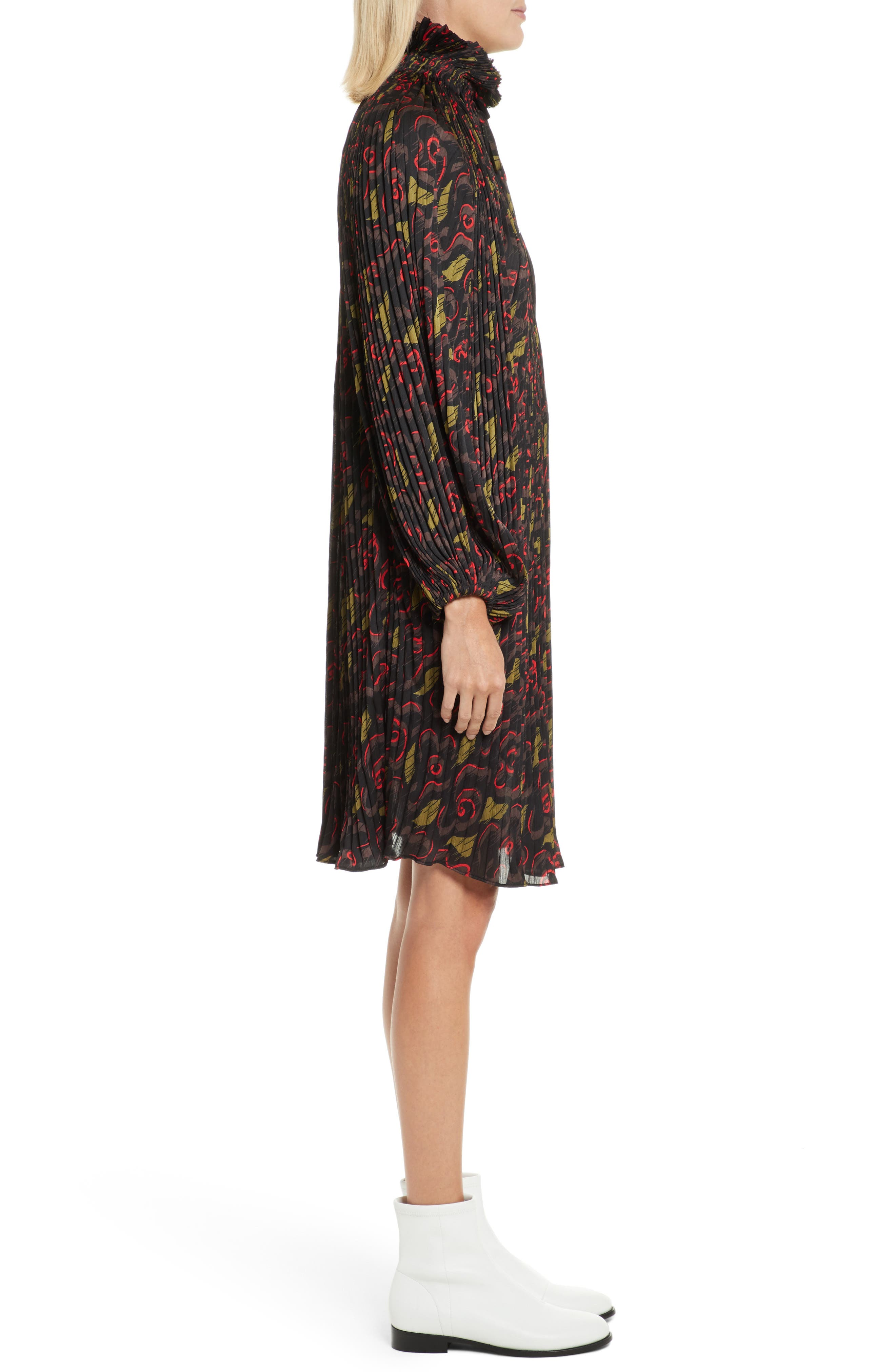 Pleated Floral Dress,                             Alternate thumbnail 3, color,                             Jewel Red Multi