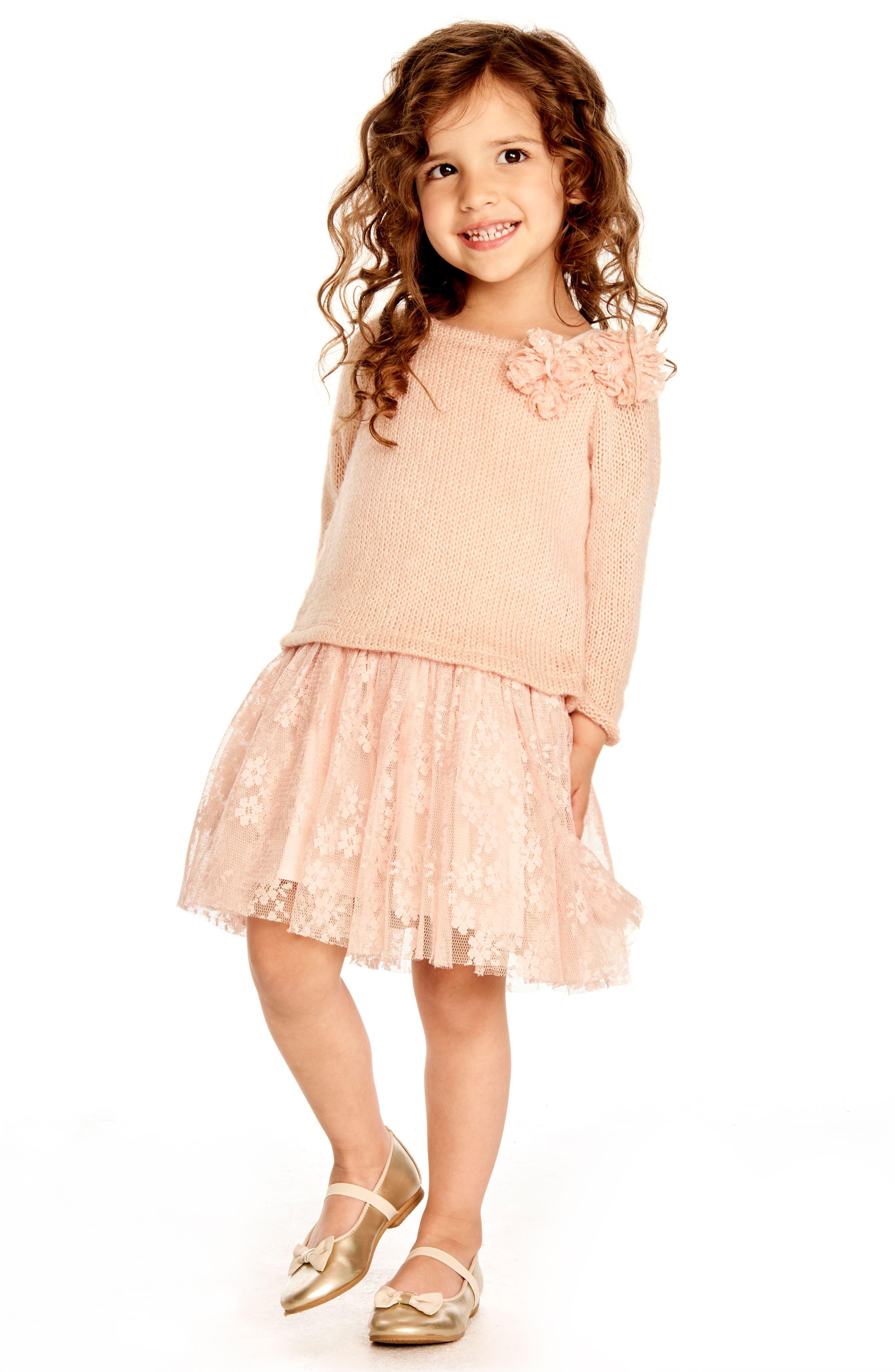 Alternate Image 2  - Pippa & Julie Sweater & Lace Skirt Dress (Toddler Girls, Little Girls & Big Girls)